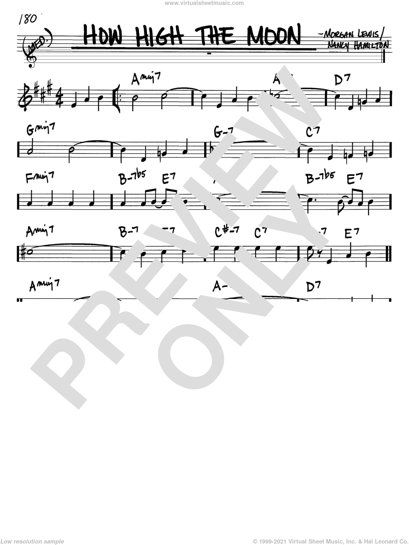How High The Moon sheet music for voice and other instruments (Bb) by Nancy Hamilton, Les Paul and Morgan Lewis. Score Image Preview.