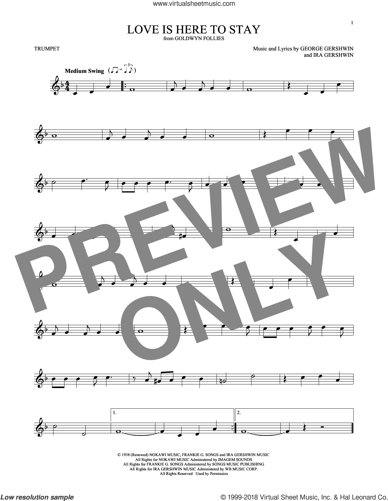 Love Is Here To Stay sheet music for trumpet solo by George Gershwin and Ira Gershwin, intermediate skill level