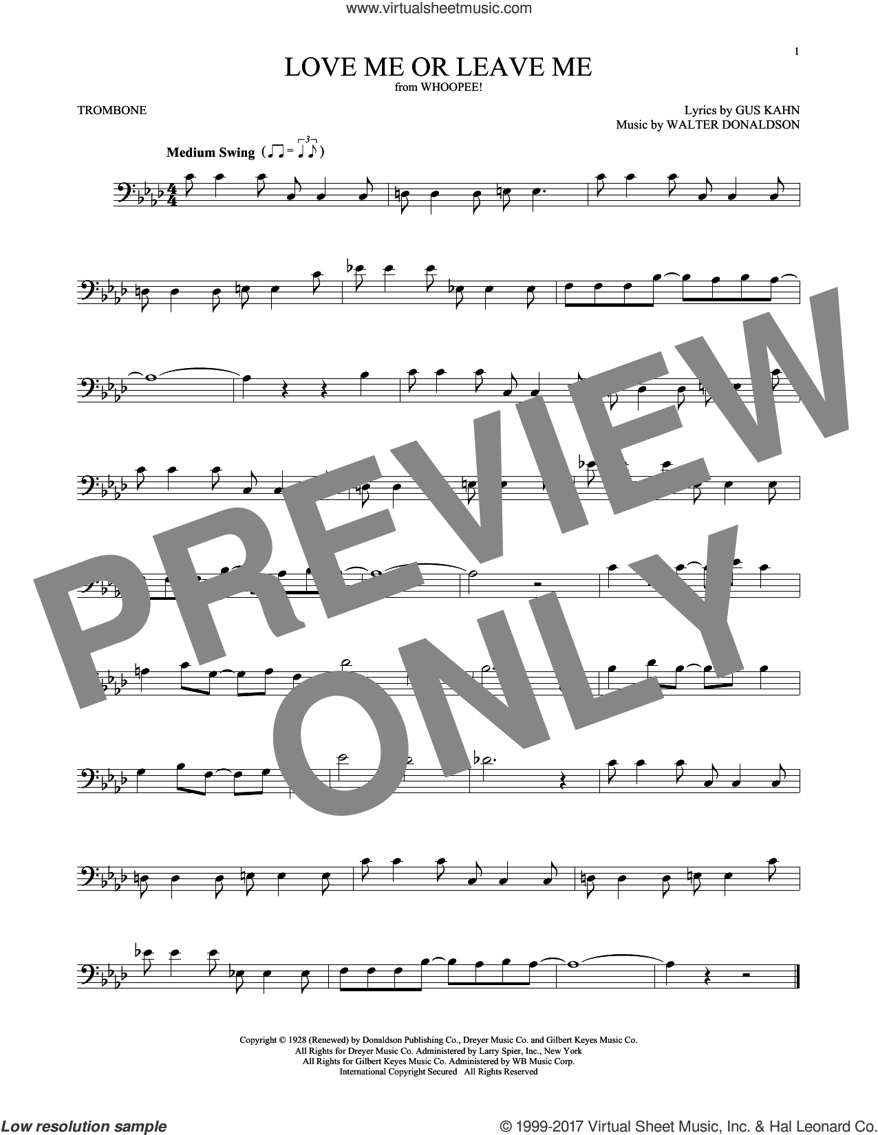 Love Me Or Leave Me sheet music for trombone solo by Gus Kahn, Dave Pell, Donaldson and Kahn and Walter Donaldson, intermediate skill level