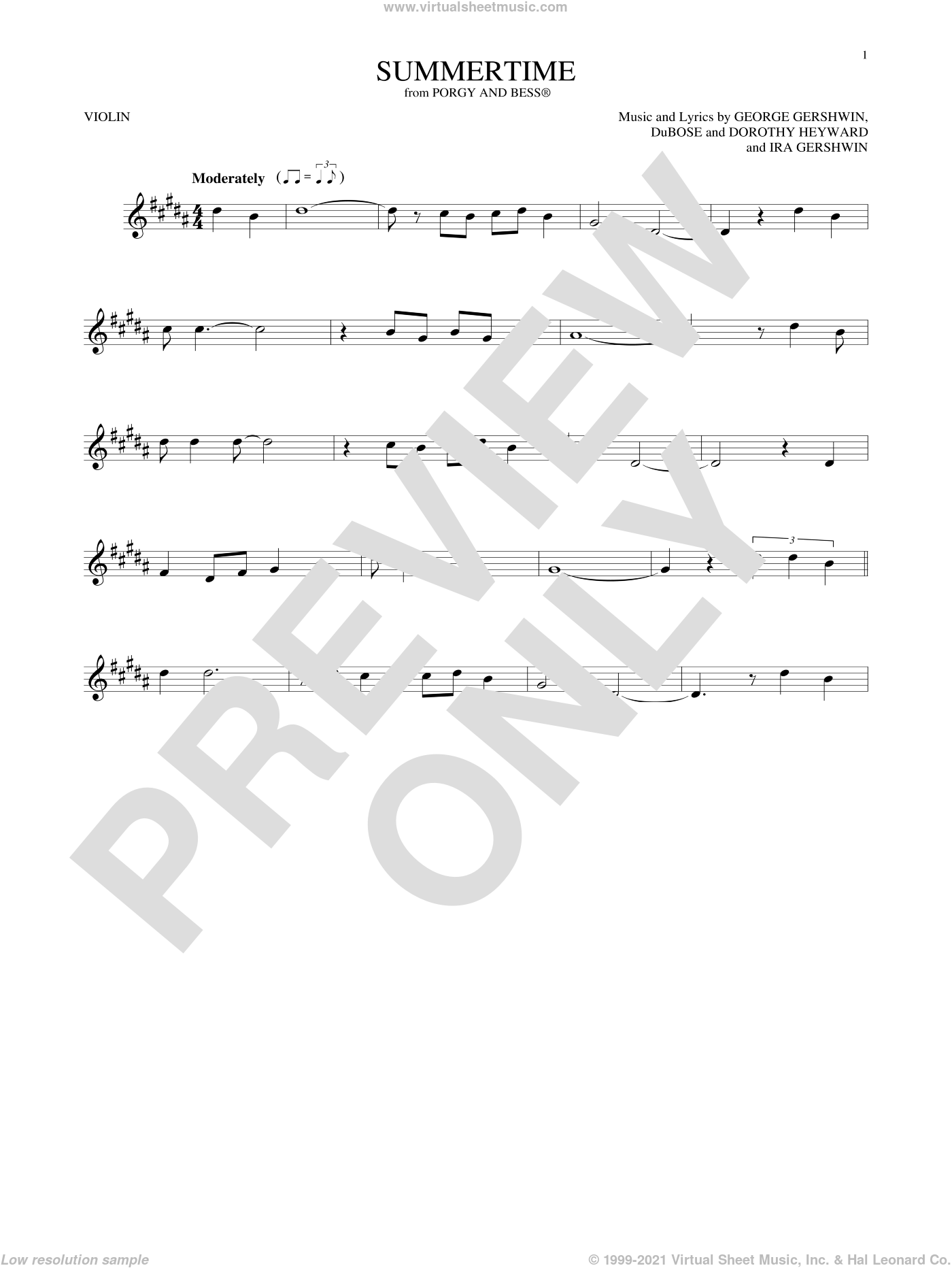 Summertime sheet music for violin solo by George Gershwin, Dorothy Heyward, DuBose Heyward and Ira Gershwin, intermediate. Score Image Preview.