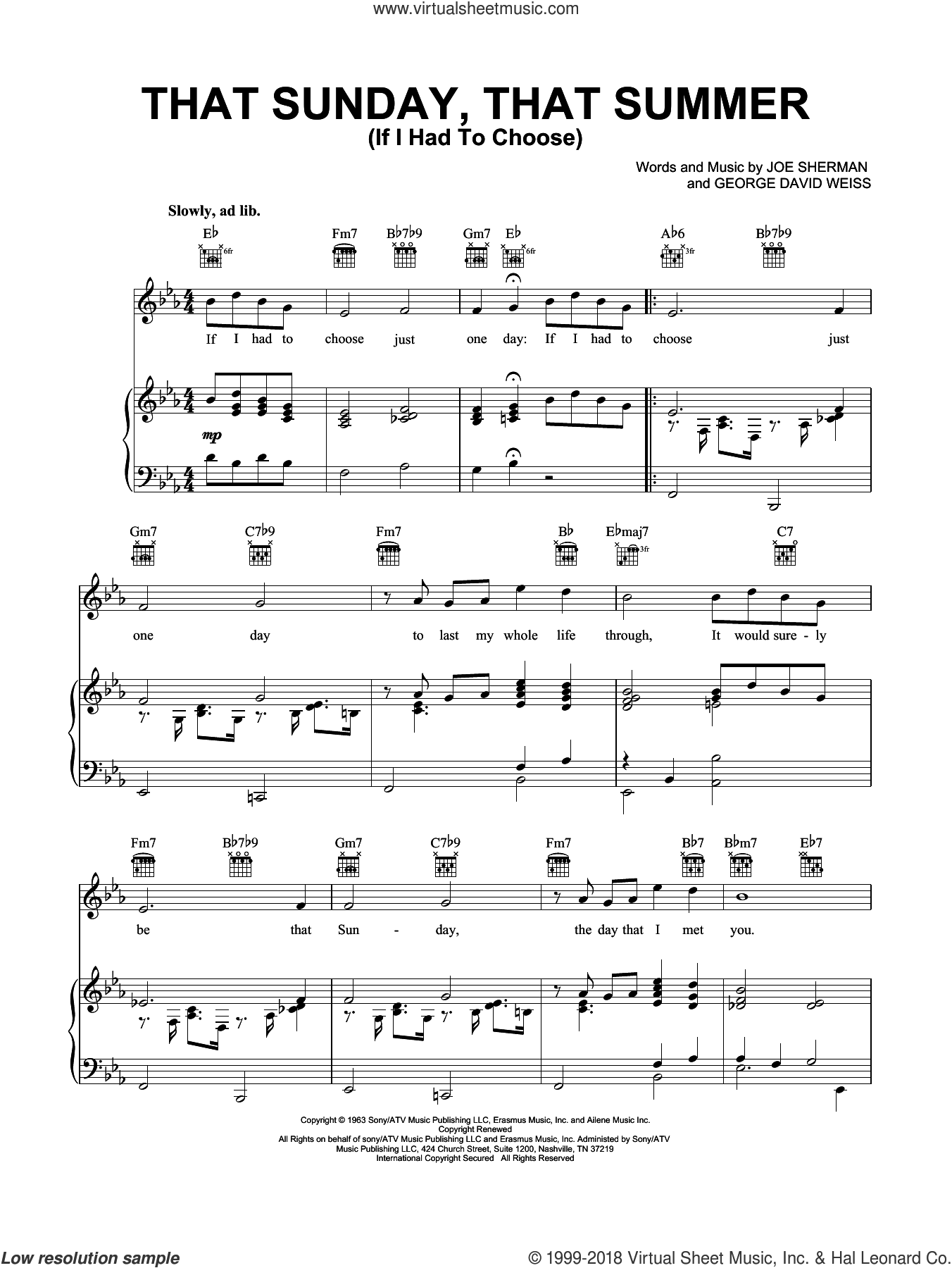 That Sunday That Summer (If I Had To Choose) sheet music for voice, piano or guitar by George David Weiss, Nat King Cole and Joe Sherman, intermediate skill level
