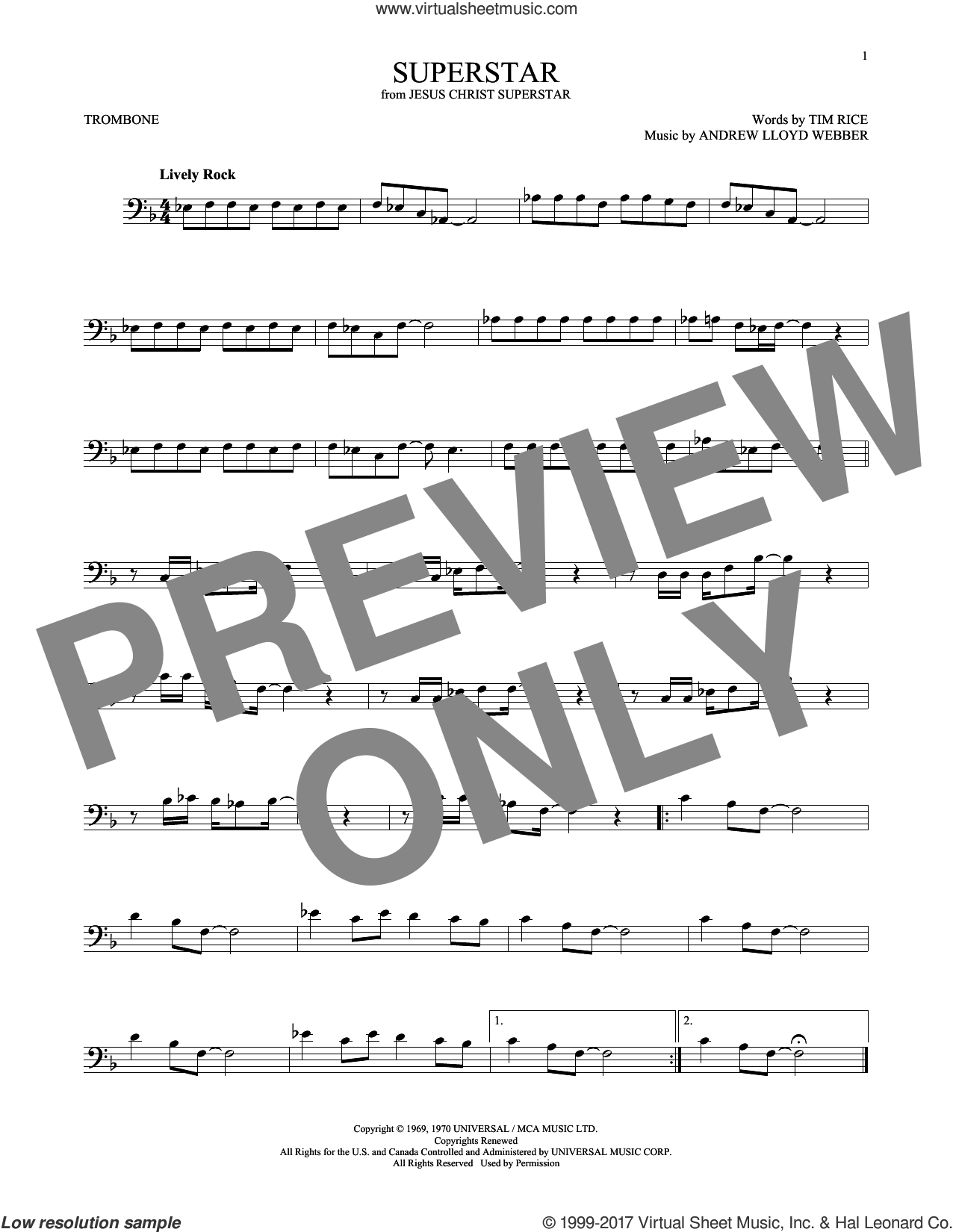 Superstar sheet music for trombone solo by Andrew Lloyd Webber, Murray Head w/Trinidad Singers and Tim Rice, intermediate. Score Image Preview.