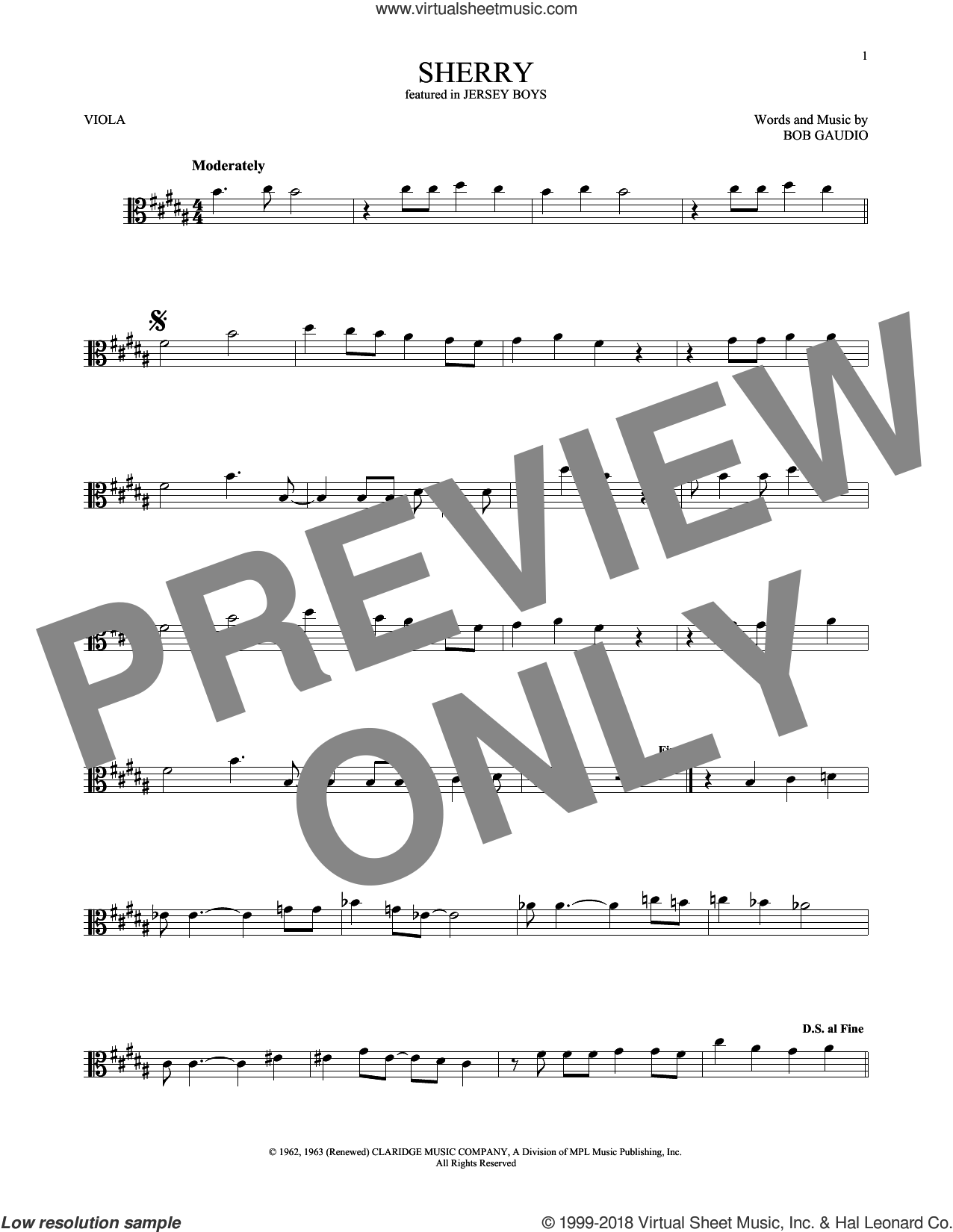 Sherry sheet music for viola solo by The Four Seasons and Bob Gaudio, intermediate skill level