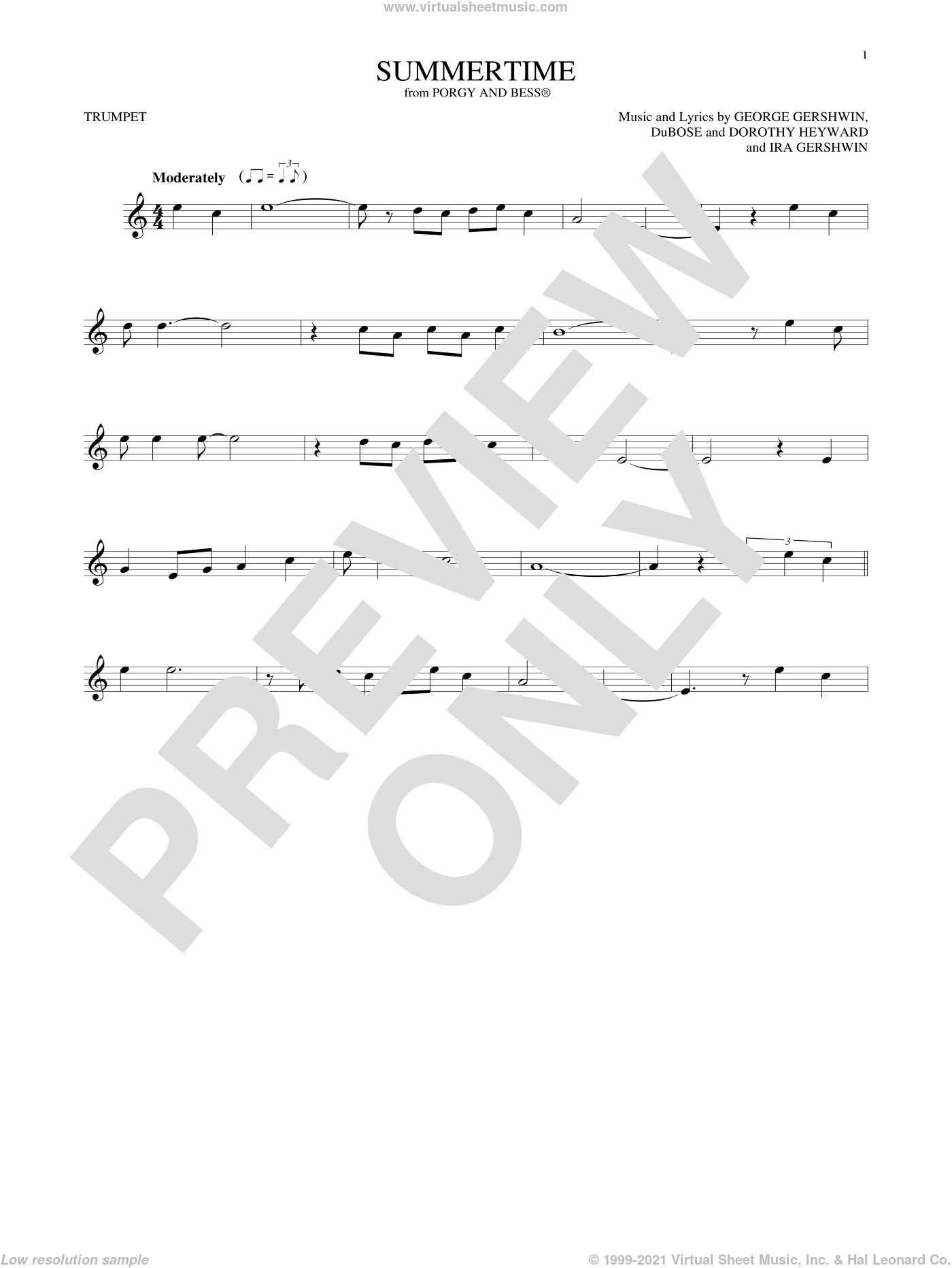 Summertime sheet music for trumpet solo by George Gershwin, Dorothy Heyward, DuBose Heyward and Ira Gershwin, intermediate skill level