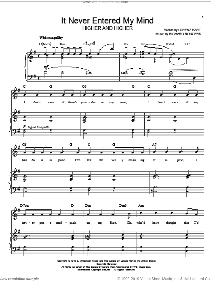 It Never Entered My Mind sheet music for voice, piano or guitar by Rodgers & Hart, Lorenz Hart and Richard Rodgers. Score Image Preview.
