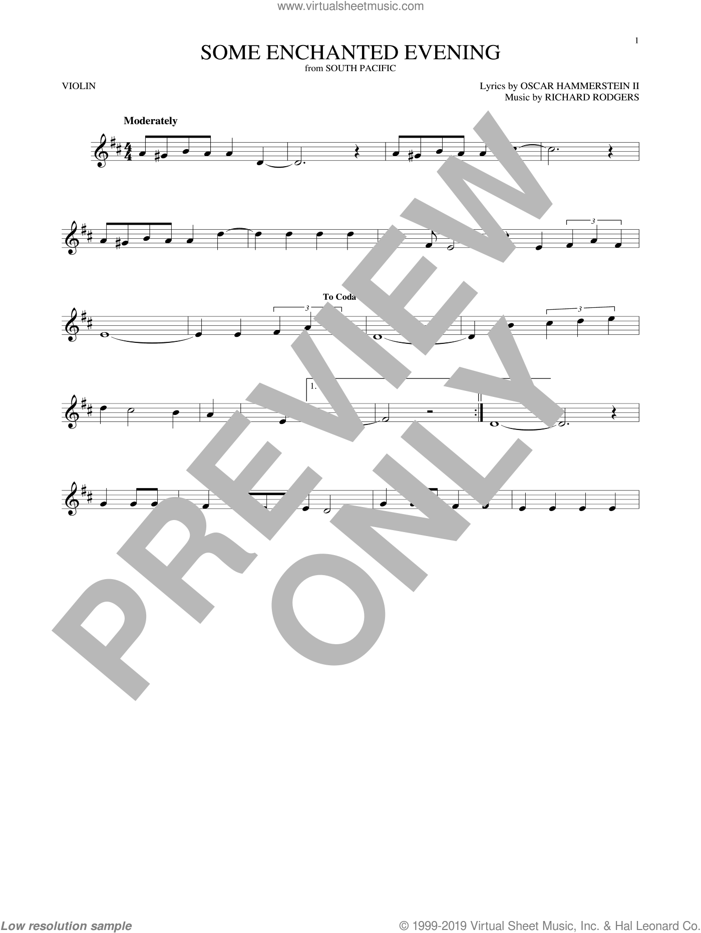Some Enchanted Evening sheet music for violin solo by Rodgers & Hammerstein, Oscar II Hammerstein and Richard Rodgers, intermediate skill level