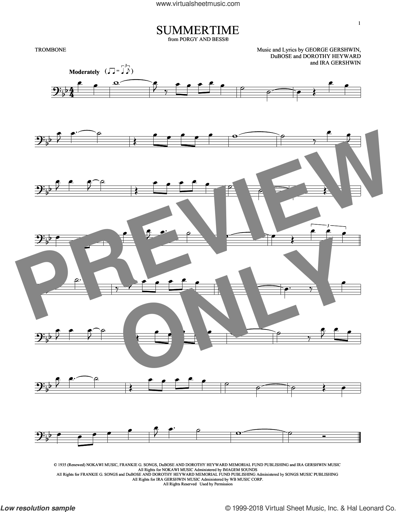 Summertime sheet music for trombone solo by George Gershwin, Dorothy Heyward, DuBose Heyward and Ira Gershwin, intermediate skill level