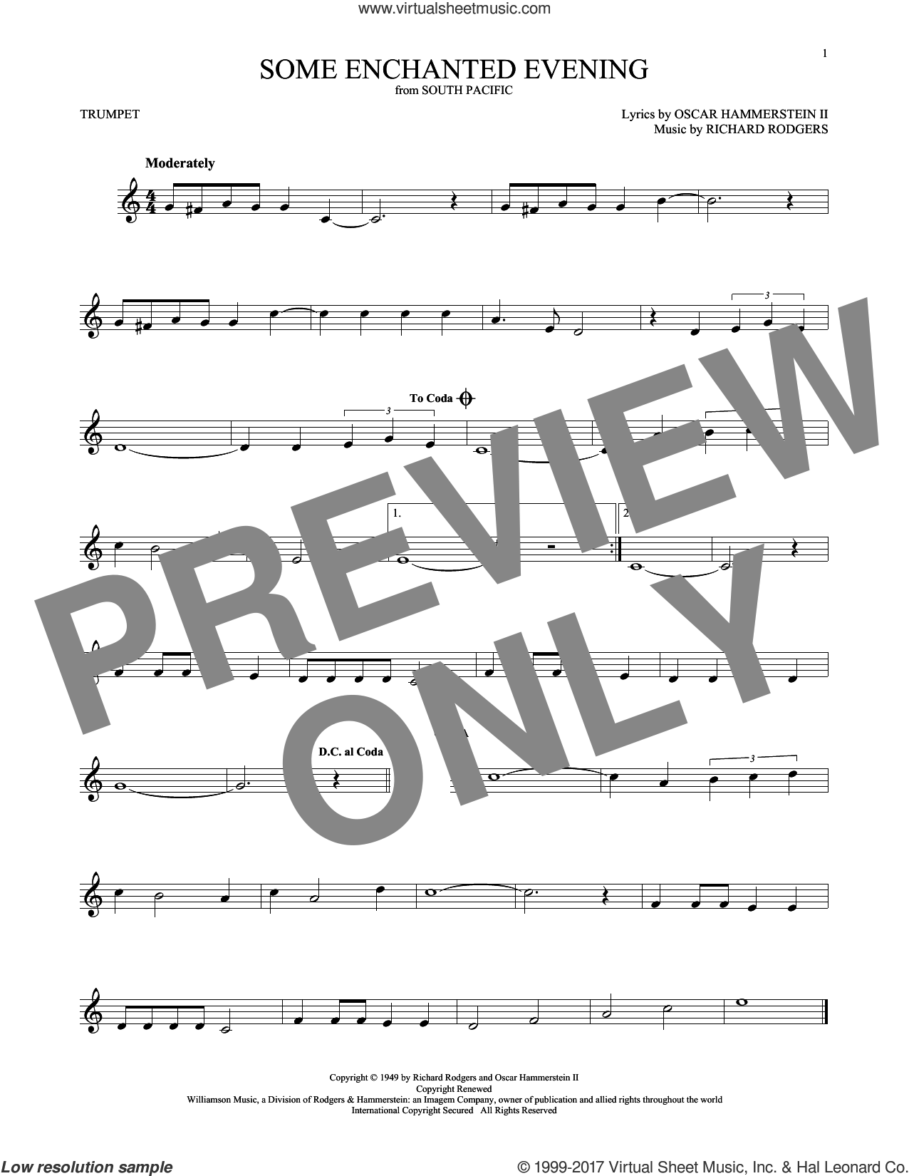 Some Enchanted Evening sheet music for trumpet solo by Rodgers & Hammerstein, Oscar II Hammerstein and Richard Rodgers, intermediate skill level