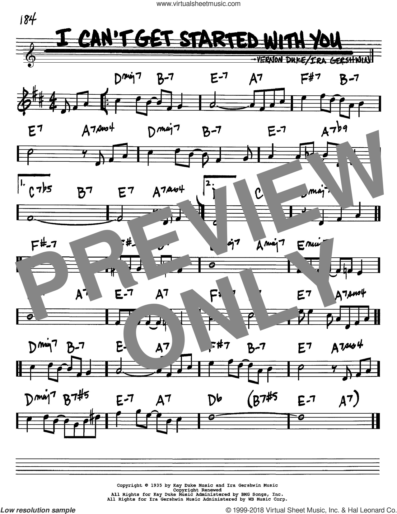 I Can't Get Started With You sheet music for voice and other instruments (Bb) by Vernon Duke