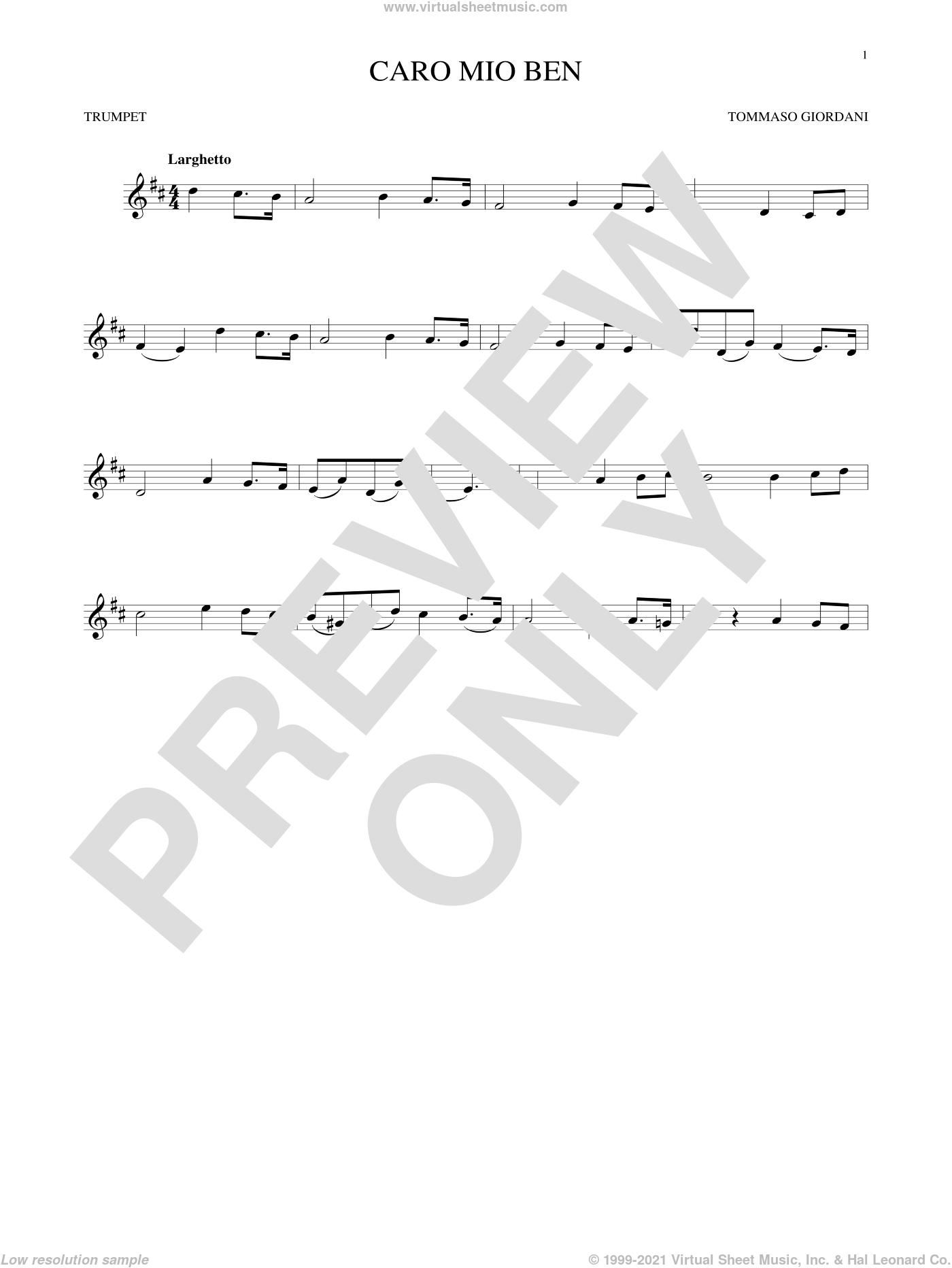 Caro Mio Ben sheet music for trumpet solo by Tommaso Giordani and Anonymous Italian poem, classical score, intermediate skill level