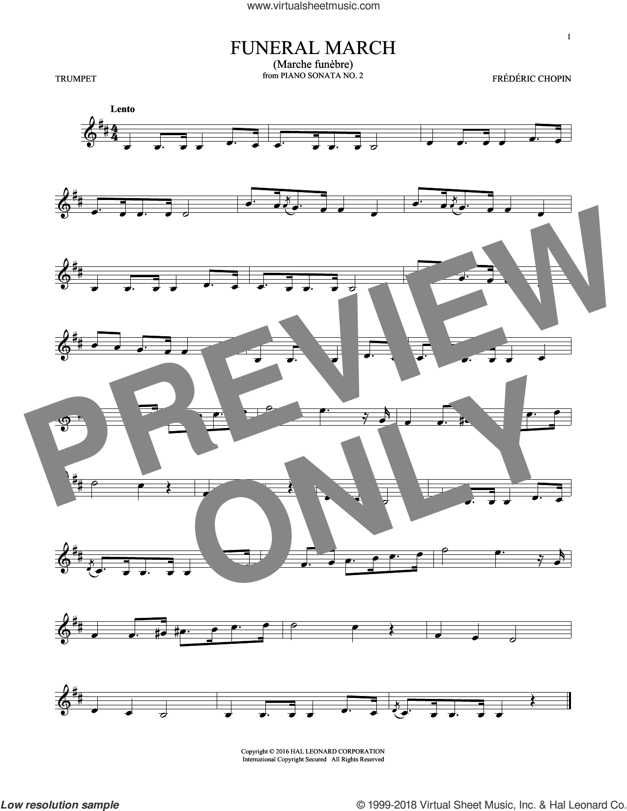 Funeral March sheet music for trumpet solo by Frederic Chopin, classical score, intermediate skill level