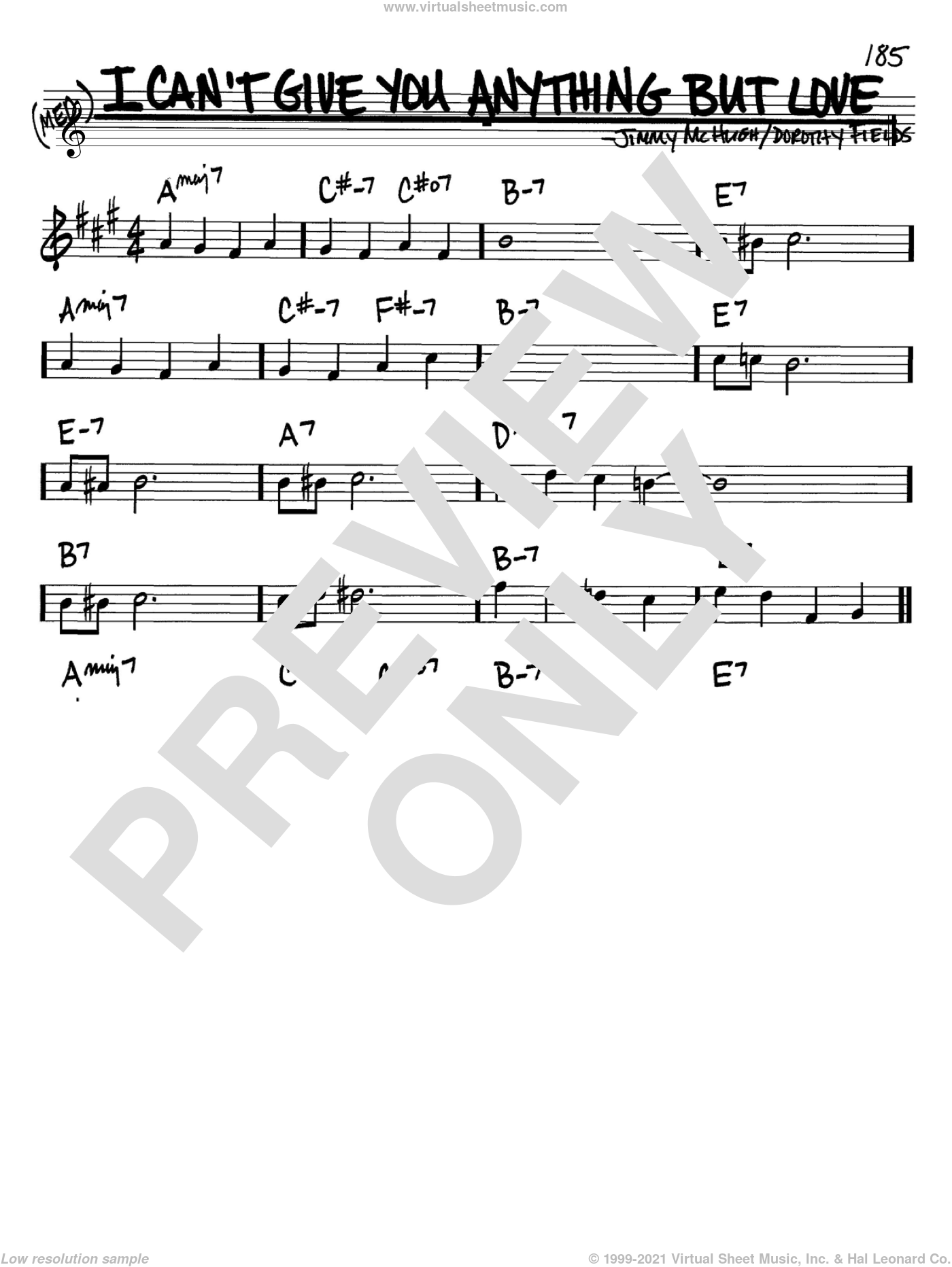 I Can't Give You Anything But Love sheet music for voice and other instruments (in Bb) by Dorothy Fields and Jimmy McHugh, intermediate. Score Image Preview.