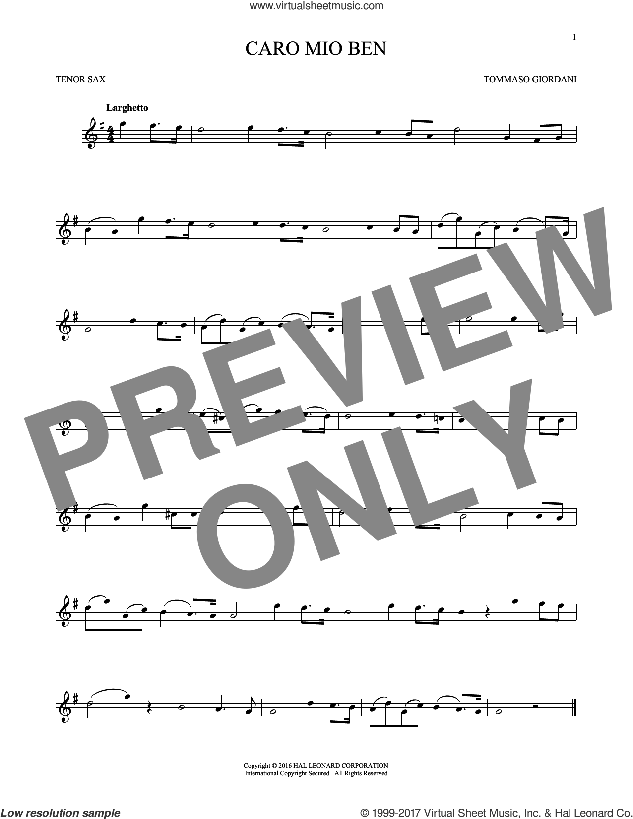 Caro Mio Ben sheet music for tenor saxophone solo by Tommaso Giordani and Anonymous Italian poem, classical score, intermediate skill level