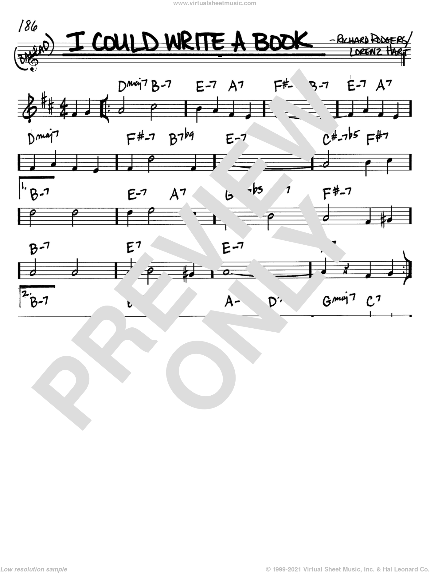 I Could Write A Book sheet music for voice and other instruments (Bb) by Rodgers & Hart, Lorenz Hart and Richard Rodgers. Score Image Preview.