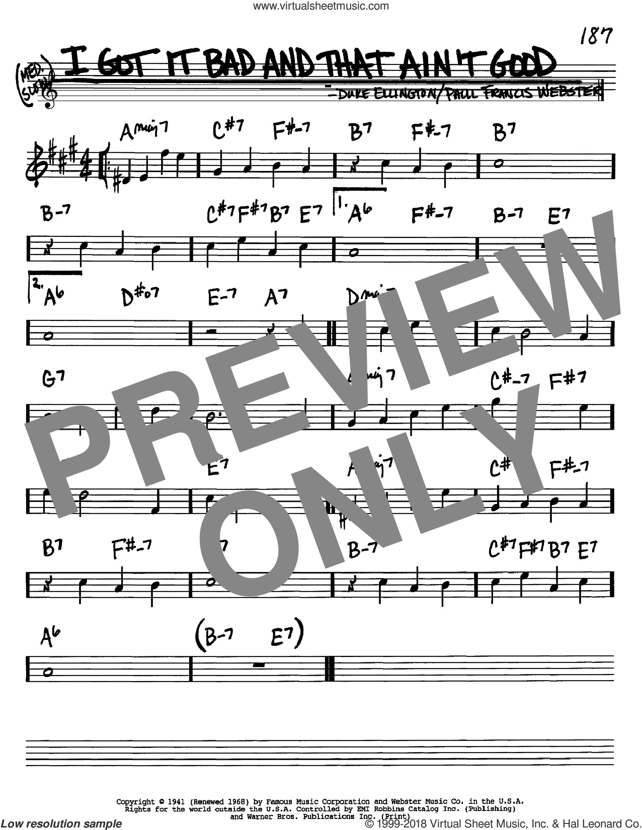 I Got It Bad And That Ain't Good sheet music for voice and other instruments (Bb) by Paul Francis Webster and Duke Ellington. Score Image Preview.