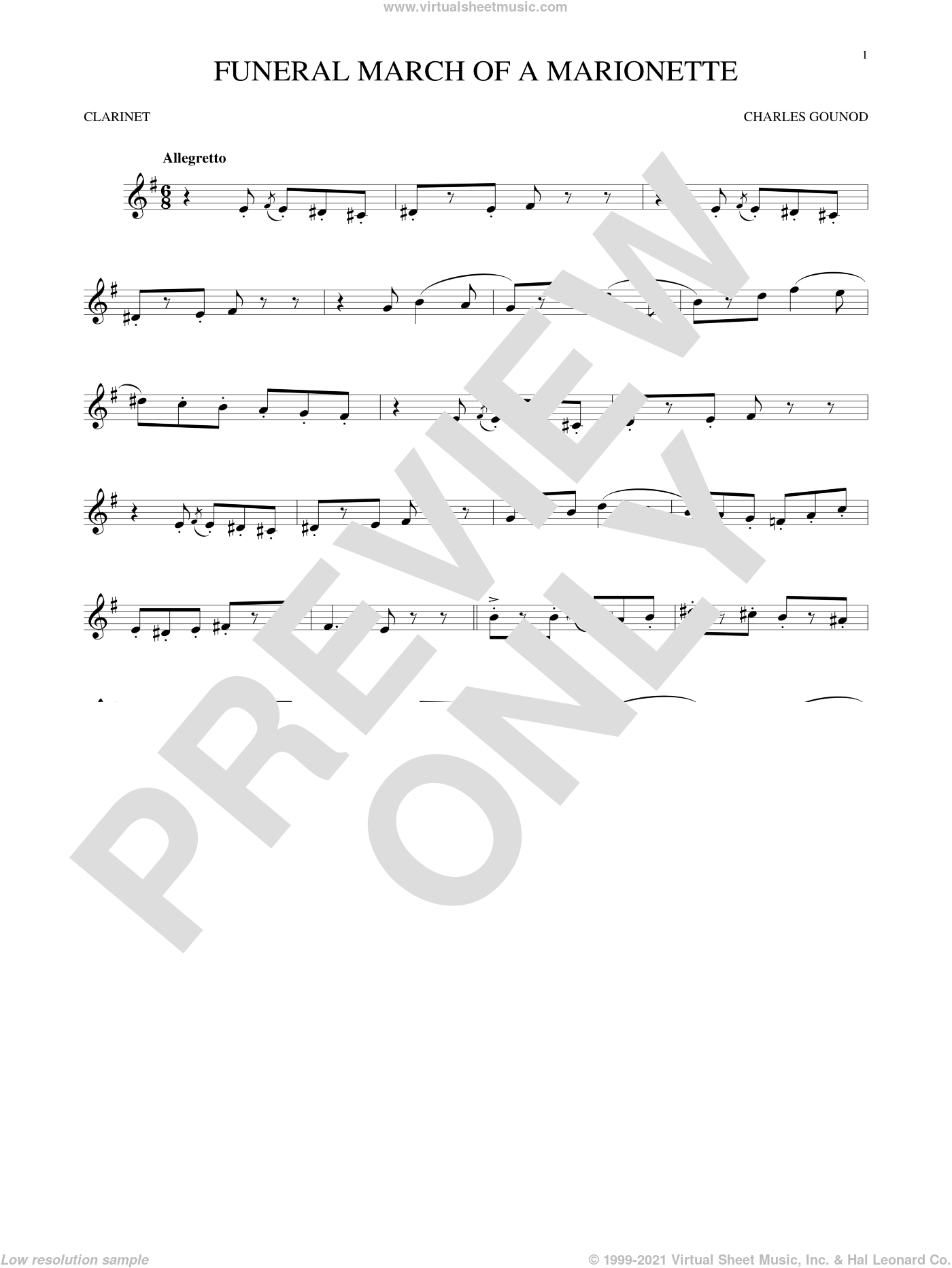 Funeral March Of A Marionette sheet music for clarinet solo by Charles Gounod, classical score, intermediate skill level