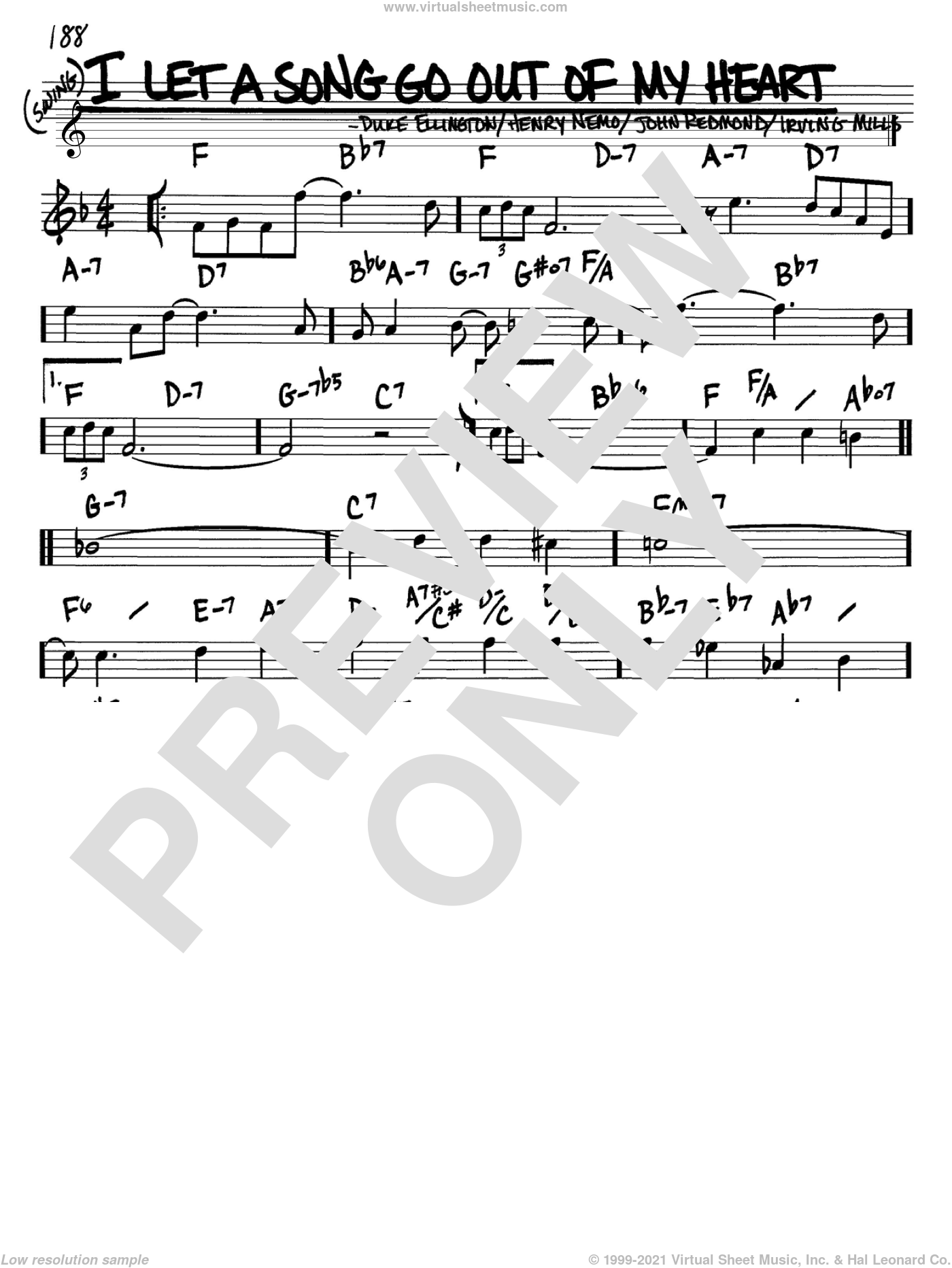 I Let A Song Go Out Of My Heart sheet music for voice and other instruments (in Bb) by Duke Ellington, Henry Nemo, Irving Mills and John Redmond, intermediate. Score Image Preview.