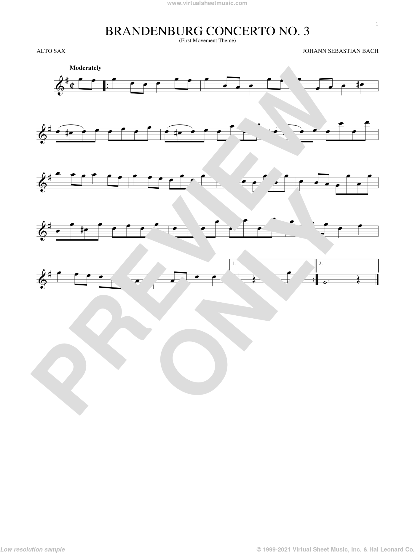 Brandenburg Concerto No. 3 sheet music for alto saxophone solo by Johann Sebastian Bach, classical score, intermediate skill level