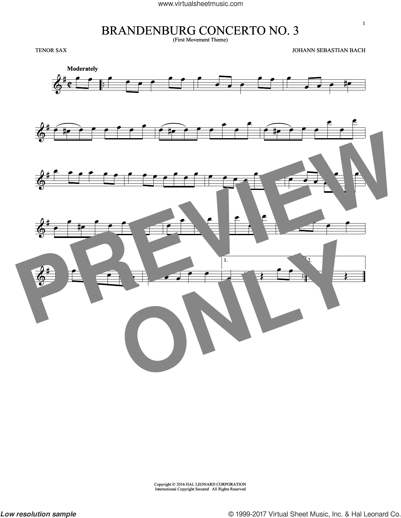 Brandenburg Concerto No. 3 sheet music for tenor saxophone solo by Johann Sebastian Bach, classical score, intermediate skill level