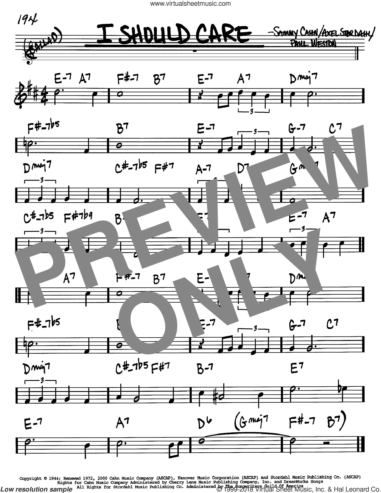 I Should Care sheet music for voice and other instruments (Bb) by Sammy Cahn, Axel Stordahl and Paul Weston