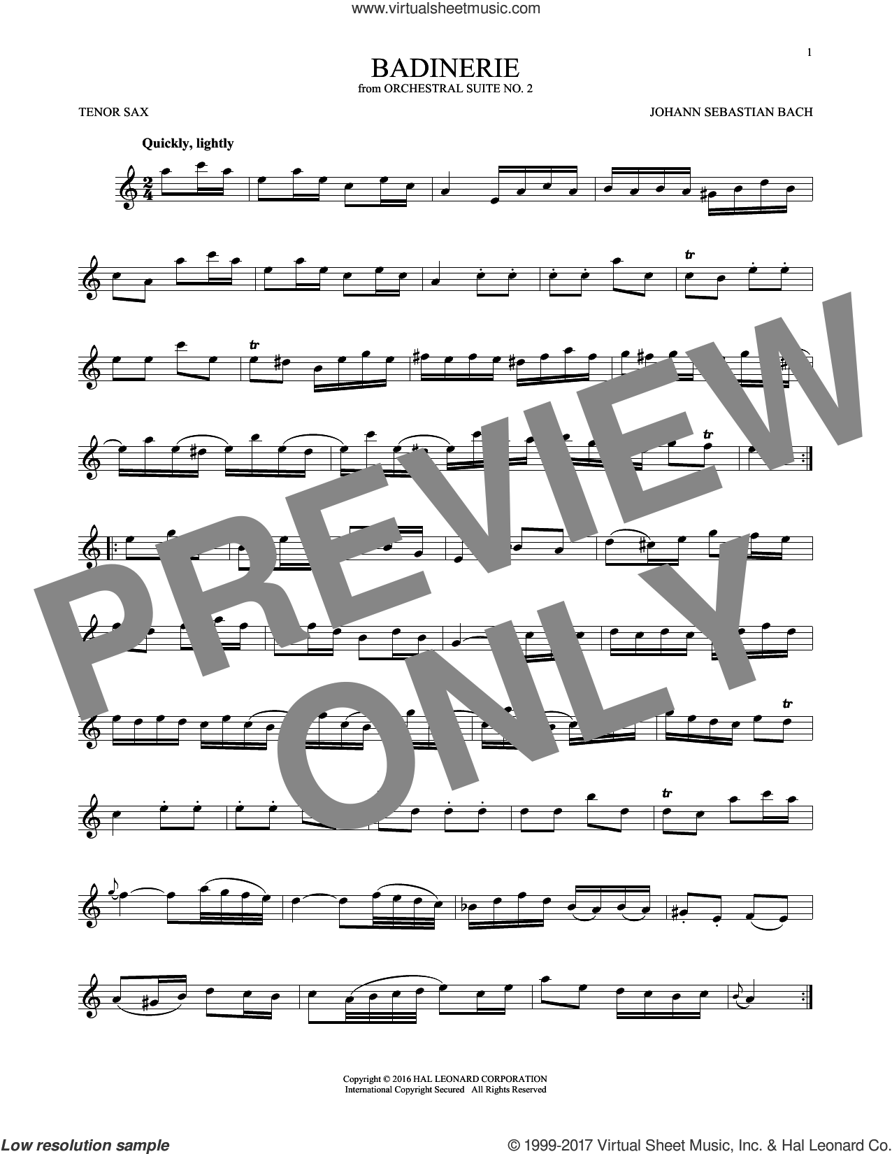Badinerie (Suite No. 2) sheet music for tenor saxophone solo by Johann Sebastian Bach, classical score, intermediate skill level