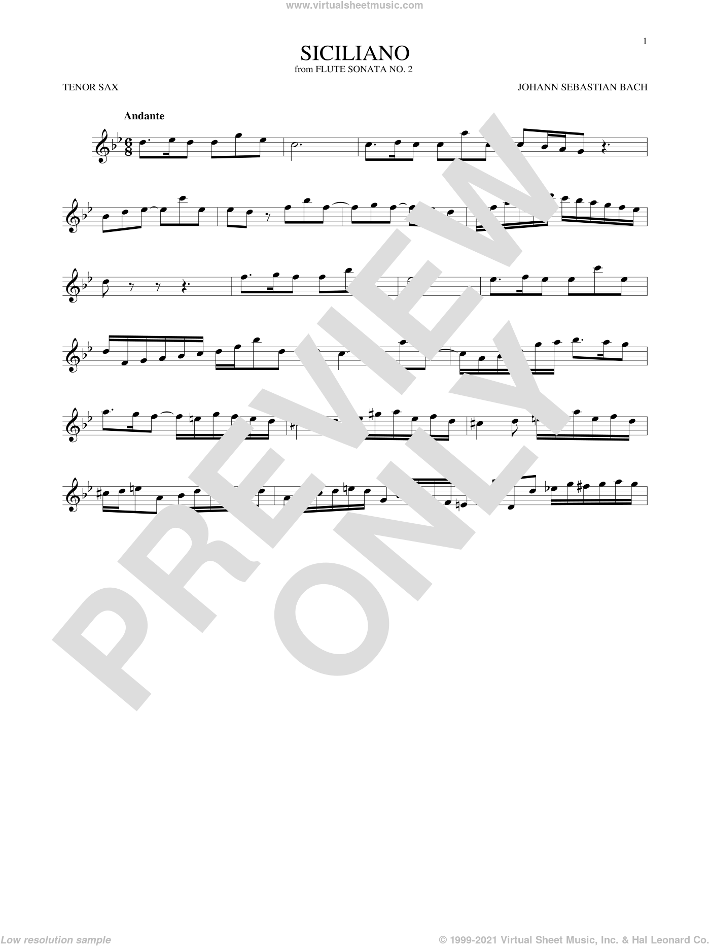 Siciliano sheet music for tenor saxophone solo by Johann Sebastian Bach, classical score, intermediate skill level