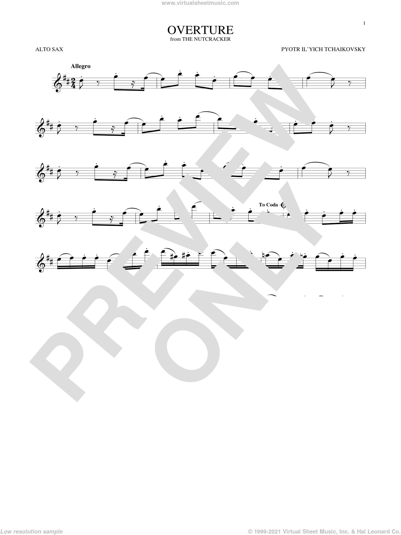 Overture sheet music for alto saxophone solo by Pyotr Ilyich Tchaikovsky, classical score, intermediate skill level