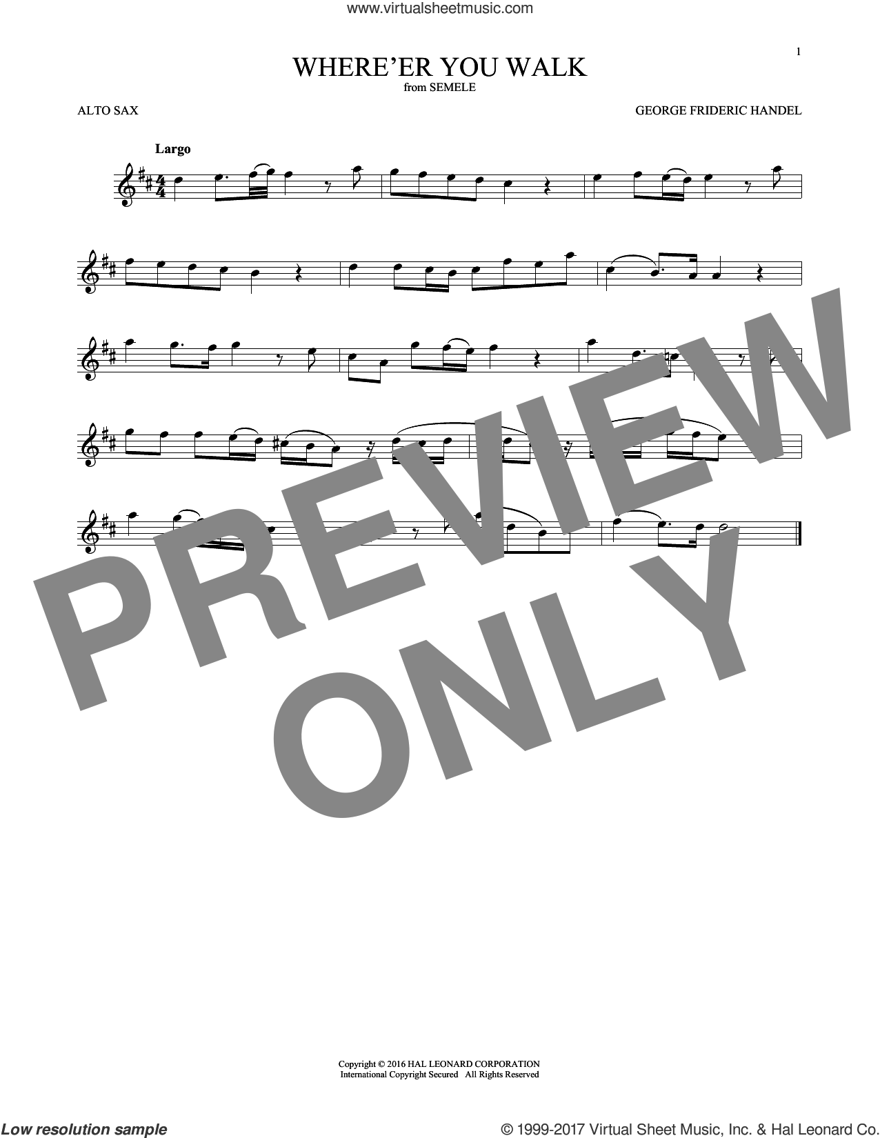 Where E'er You Walk sheet music for alto saxophone solo by George Frideric Handel and William Congreve, classical score, intermediate skill level