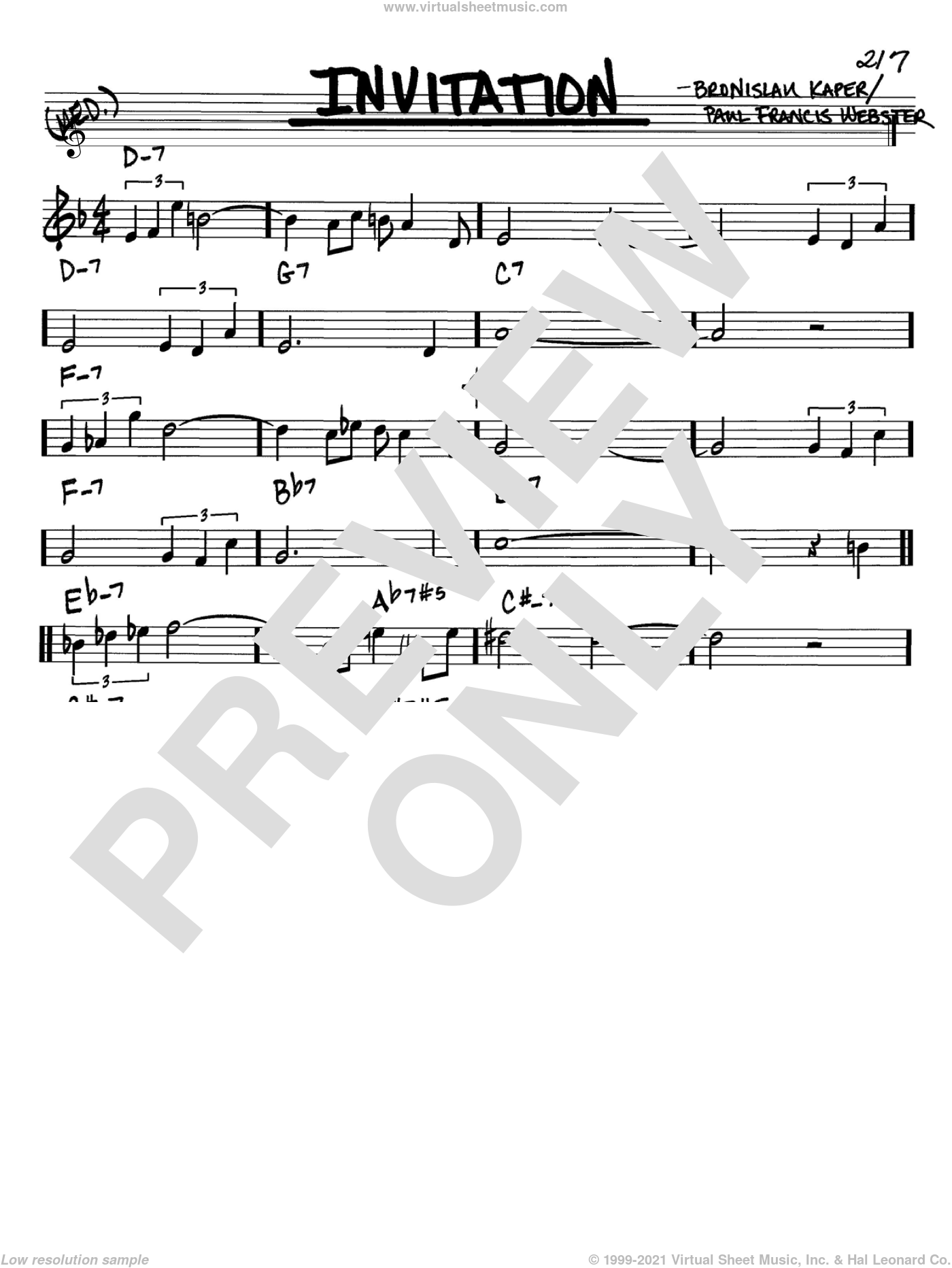 Invitation sheet music for voice and other instruments (Bb) by Bronislau Kaper