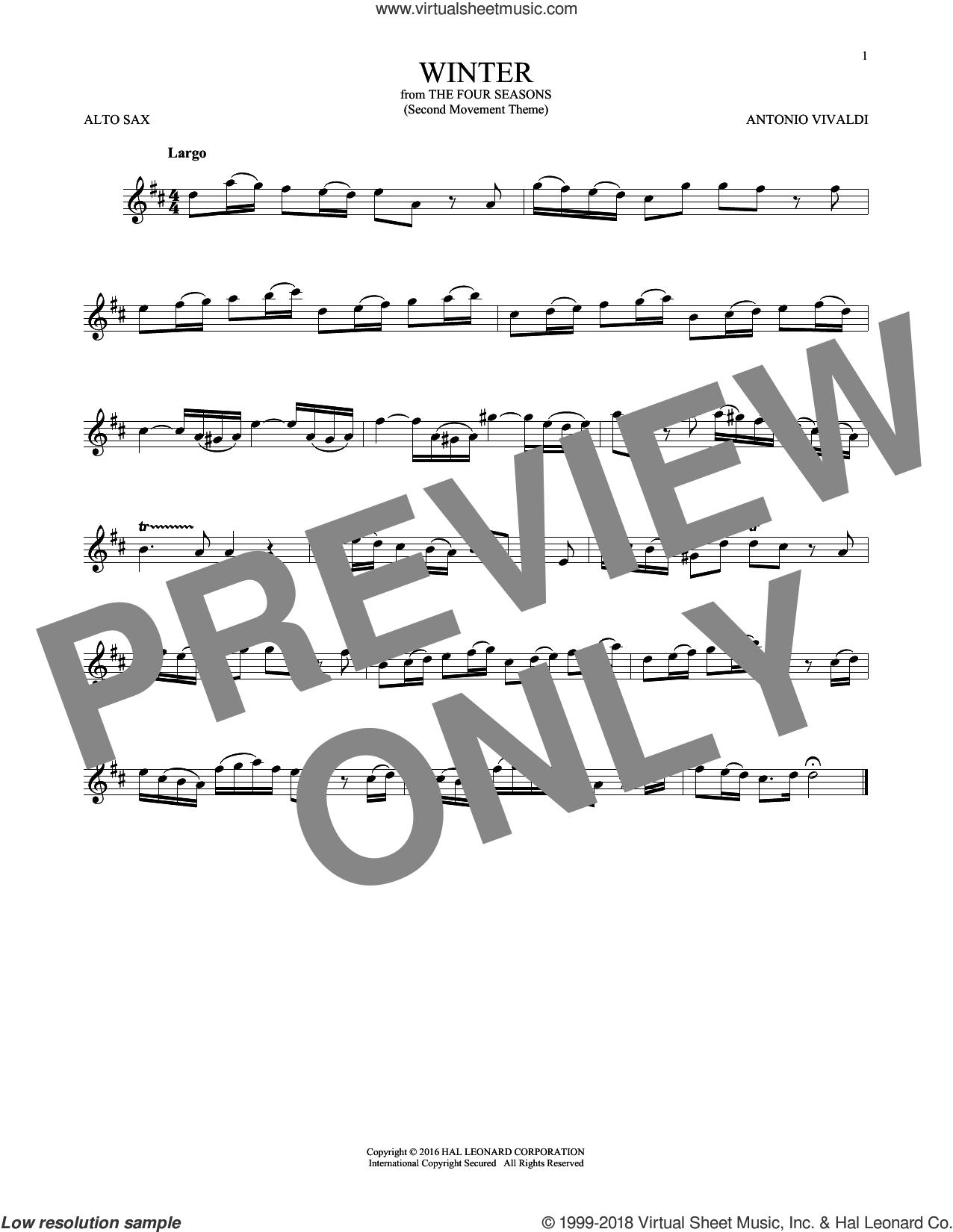 Winter sheet music for alto saxophone solo by Antonio Vivaldi, classical score, intermediate skill level