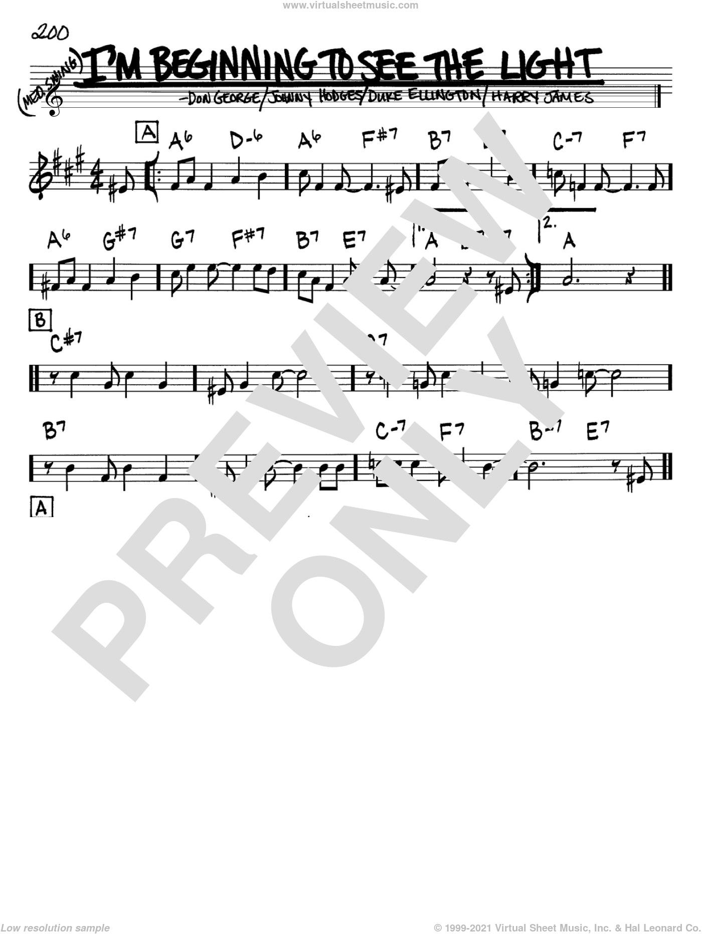 I'm Beginning To See The Light sheet music for voice and other instruments (Bb) by Johnny Hodges, Don George, Duke Ellington and Harry James. Score Image Preview.