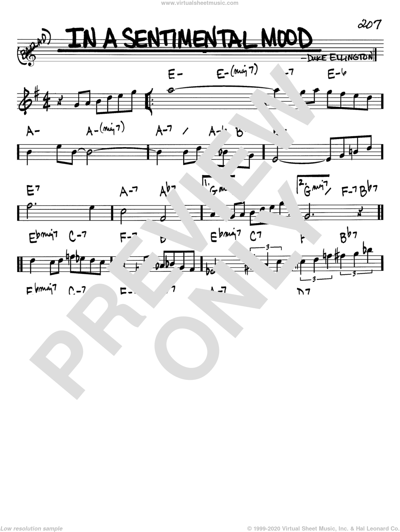 In A Sentimental Mood sheet music for voice and other instruments (in Bb) by Duke Ellington, Irving Mills and Manny Kurtz, intermediate skill level