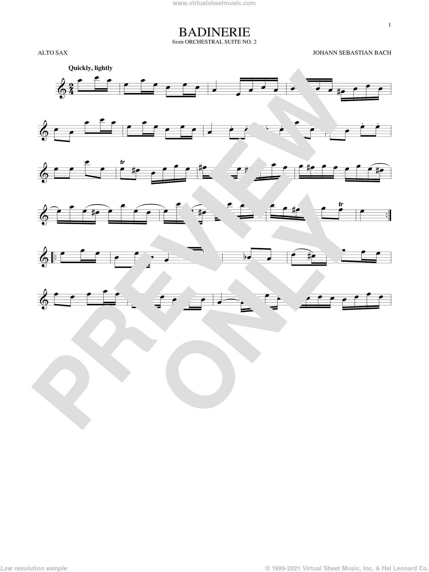 Badinerie (Suite No. 2) sheet music for alto saxophone solo by Johann Sebastian Bach, classical score, intermediate skill level