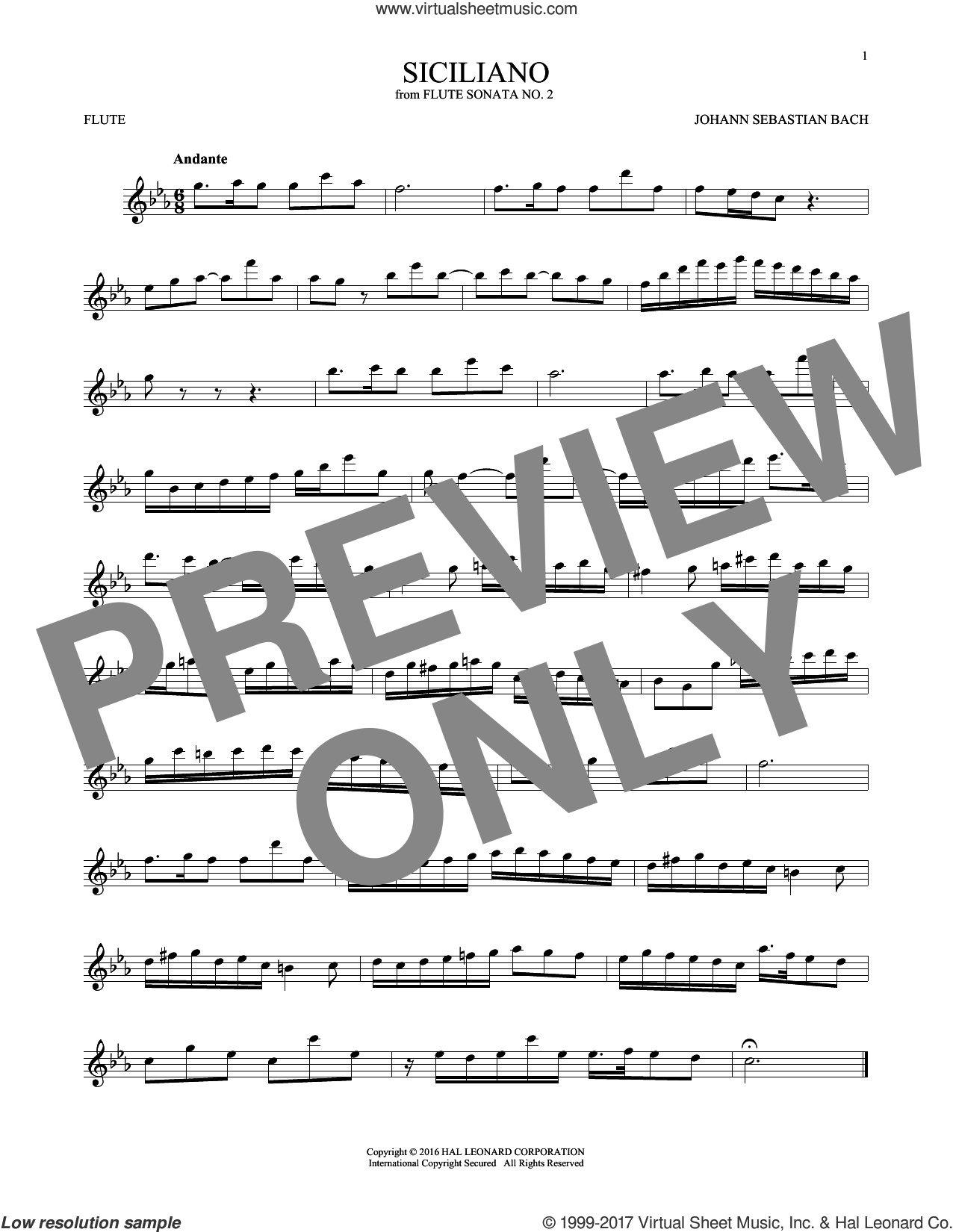 Siciliano sheet music for flute solo by Johann Sebastian Bach, classical score, intermediate skill level
