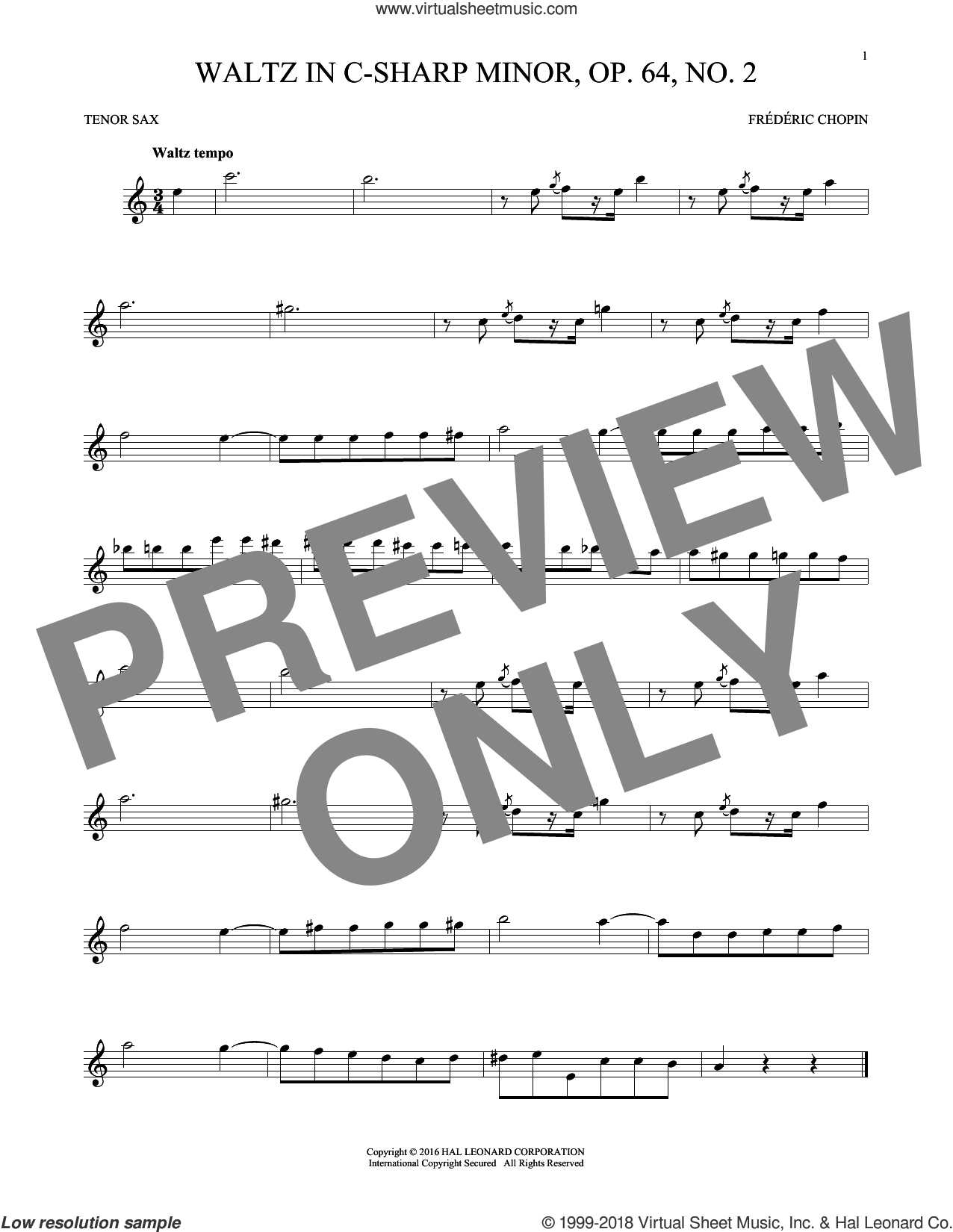 Waltz In C-Sharp Minor, Op. 64, No. 2 sheet music for tenor saxophone solo by Frederic Chopin, classical score, intermediate skill level