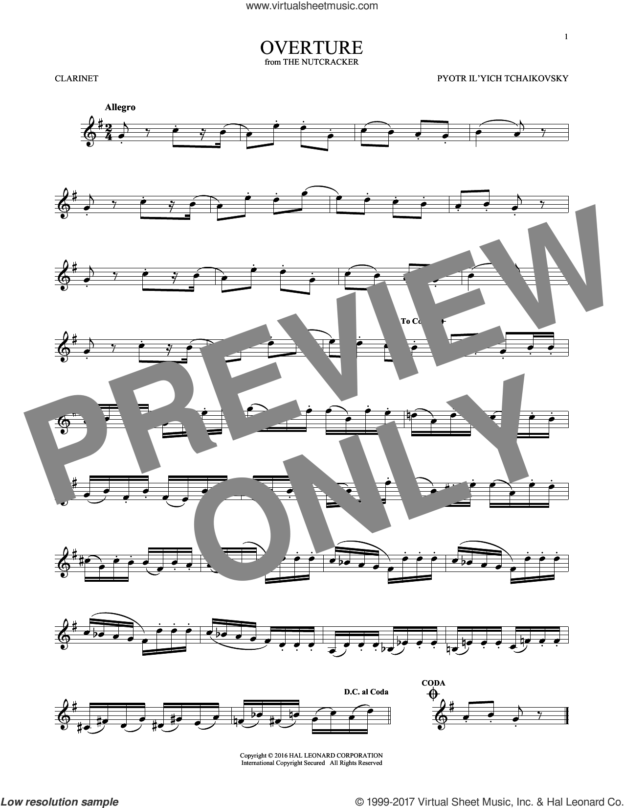 Overture sheet music for clarinet solo by Pyotr Ilyich Tchaikovsky, classical score, intermediate skill level