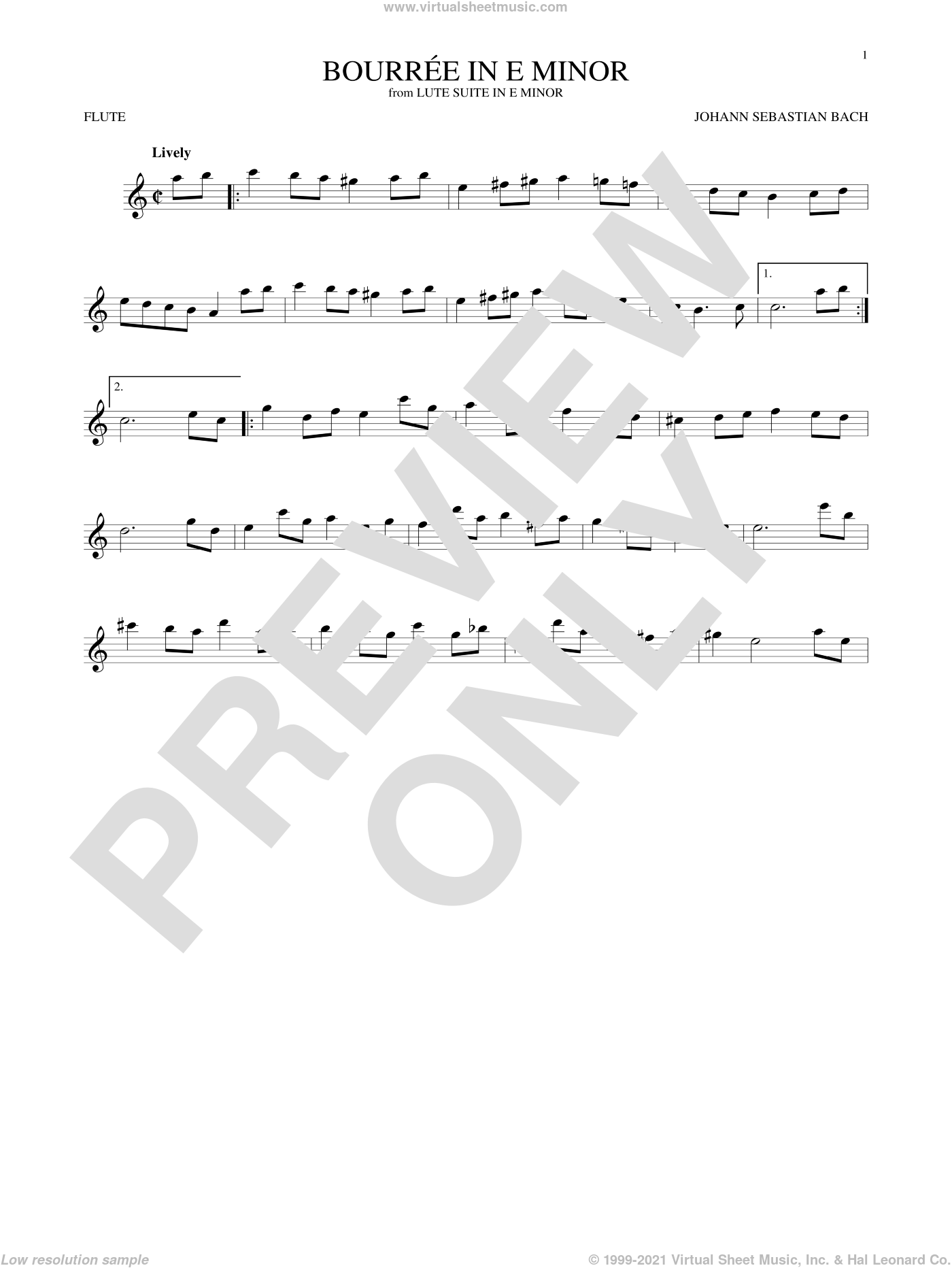 Bourree In E Minor sheet music for flute solo by Johann Sebastian Bach, classical score, intermediate skill level