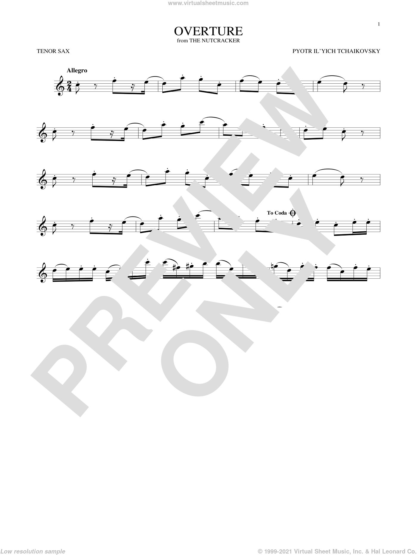 Overture sheet music for tenor saxophone solo by Pyotr Ilyich Tchaikovsky, classical score, intermediate skill level