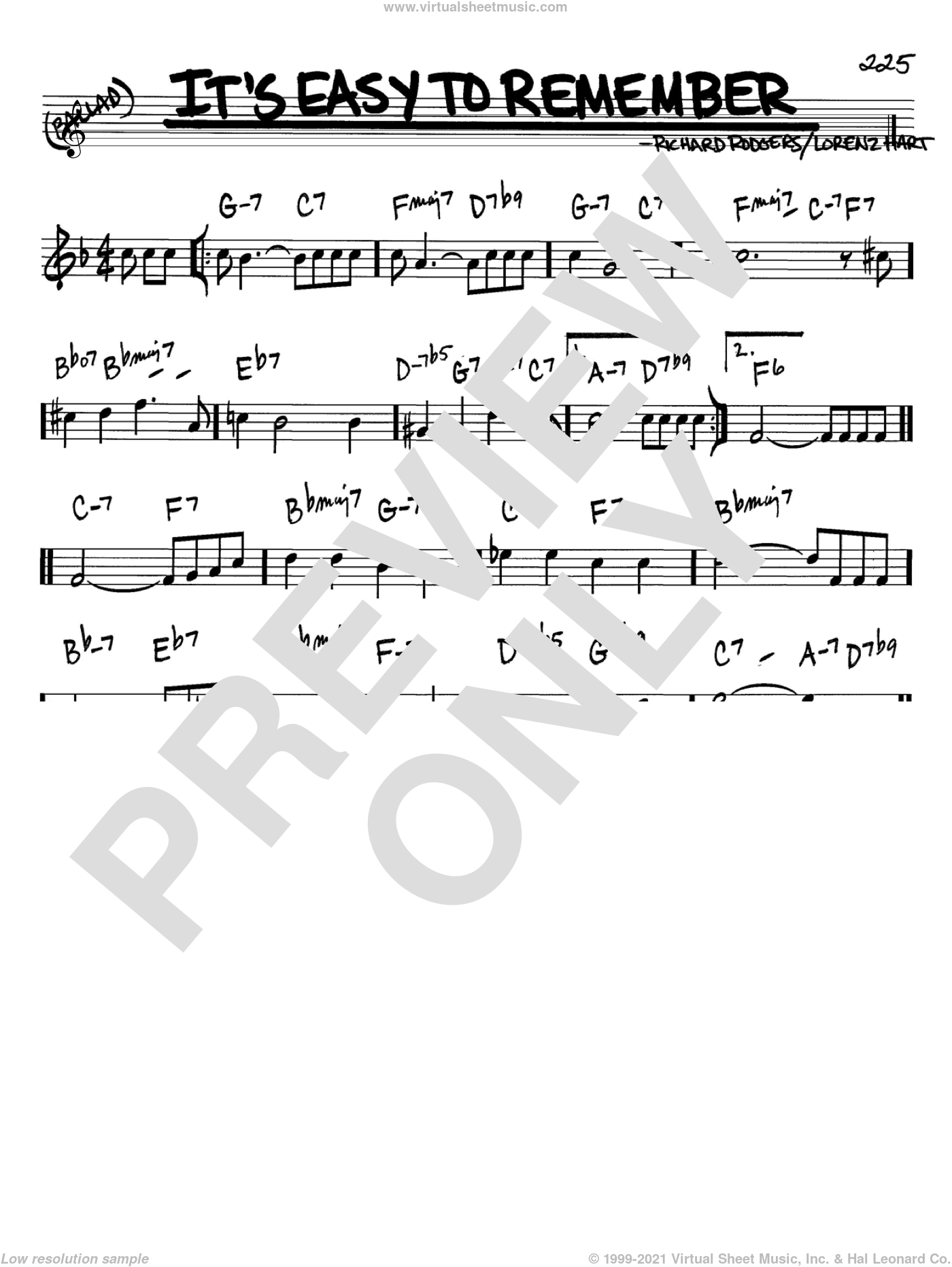 It's Easy To Remember sheet music for voice and other instruments (Bb) by Richard Rodgers, Rodgers & Hart and Lorenz Hart. Score Image Preview.