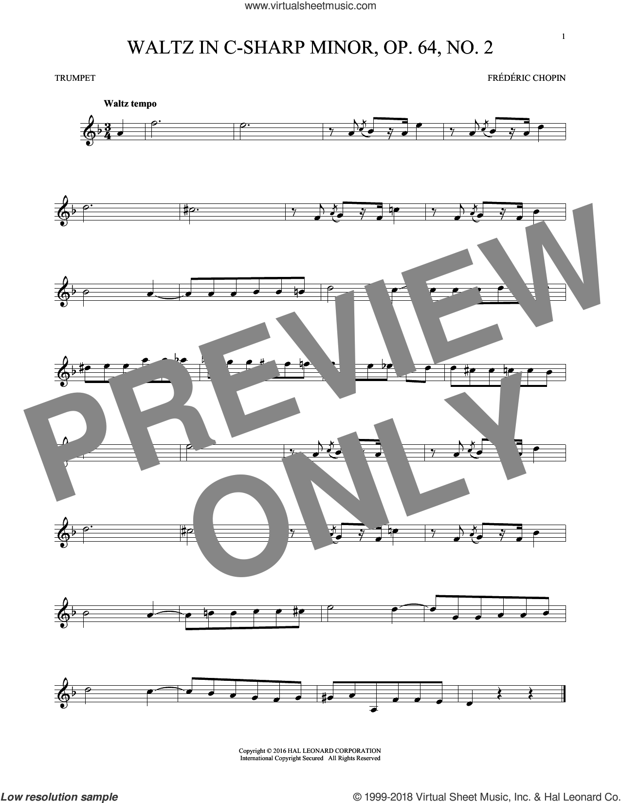 Waltz In C-Sharp Minor, Op. 64, No. 2 sheet music for trumpet solo by Frederic Chopin, classical score, intermediate skill level