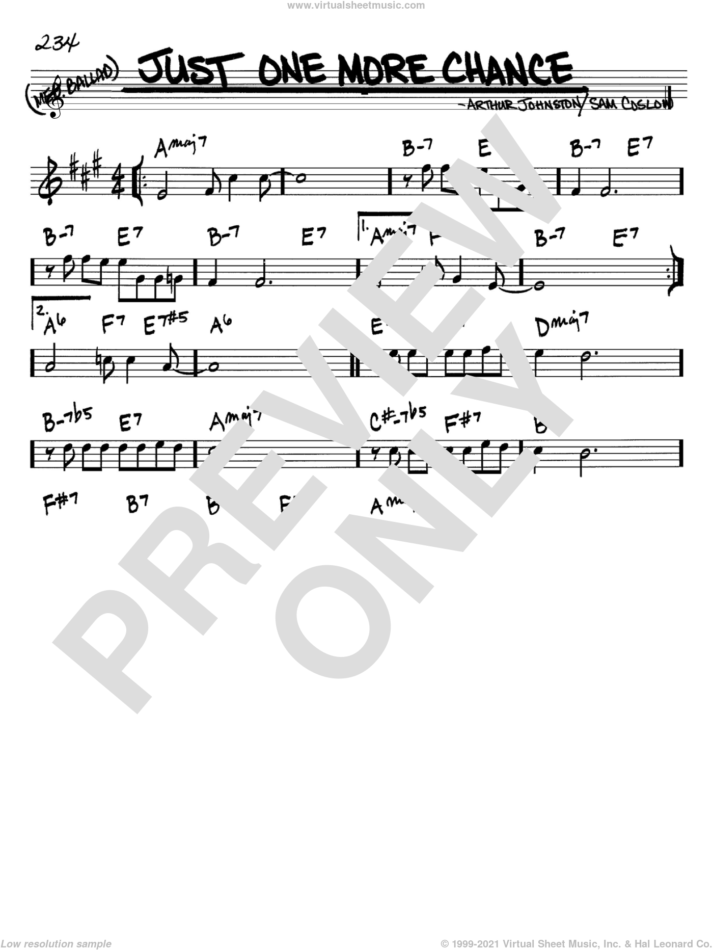 Just One More Chance sheet music for voice and other instruments (Bb) by Sam Coslow, Bing Crosby and Arthur Johnston. Score Image Preview.