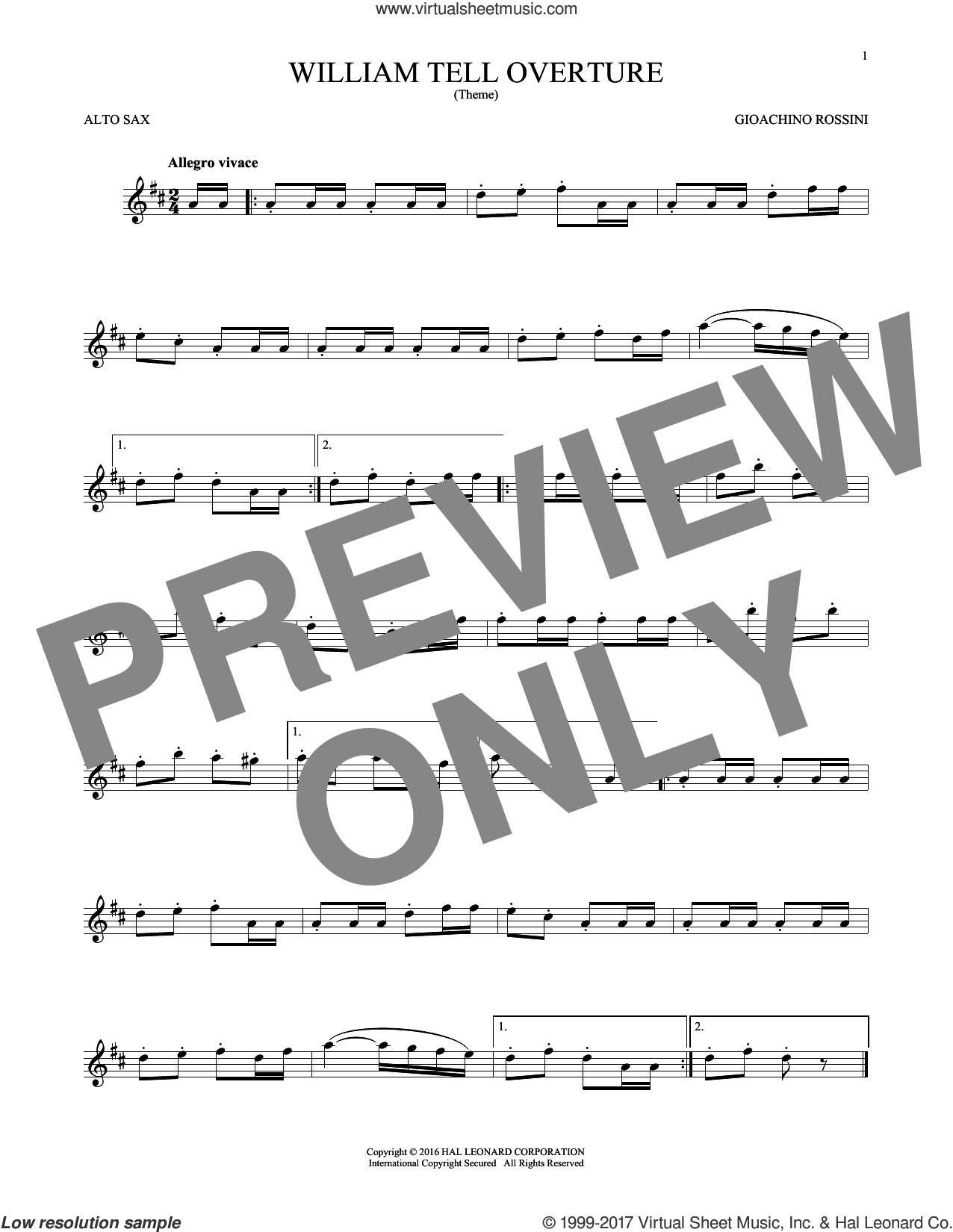 William Tell Overture sheet music for alto saxophone solo by Rossini, Gioacchino, classical score, intermediate skill level
