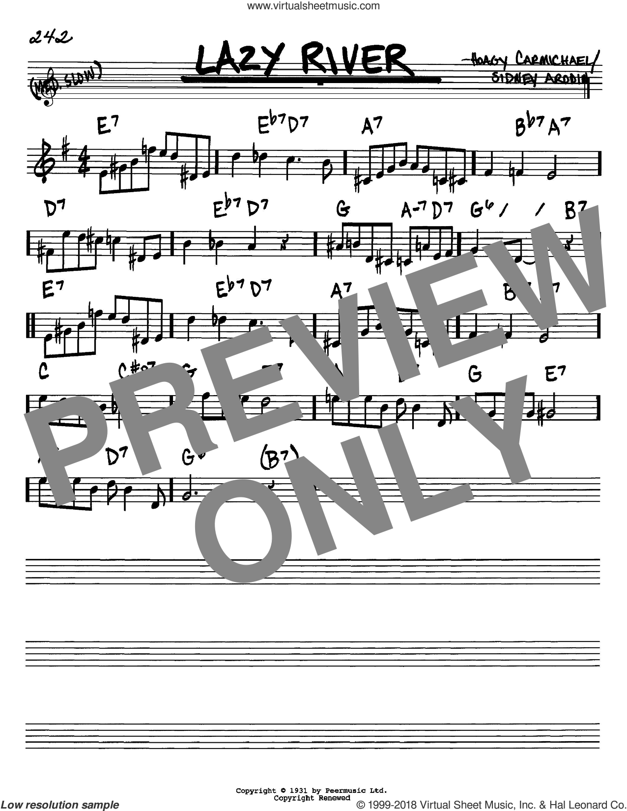 Lazy River sheet music for voice and other instruments (in Bb) by Hoagy Carmichael, Bobby Darin and Sidney Arodin, intermediate skill level