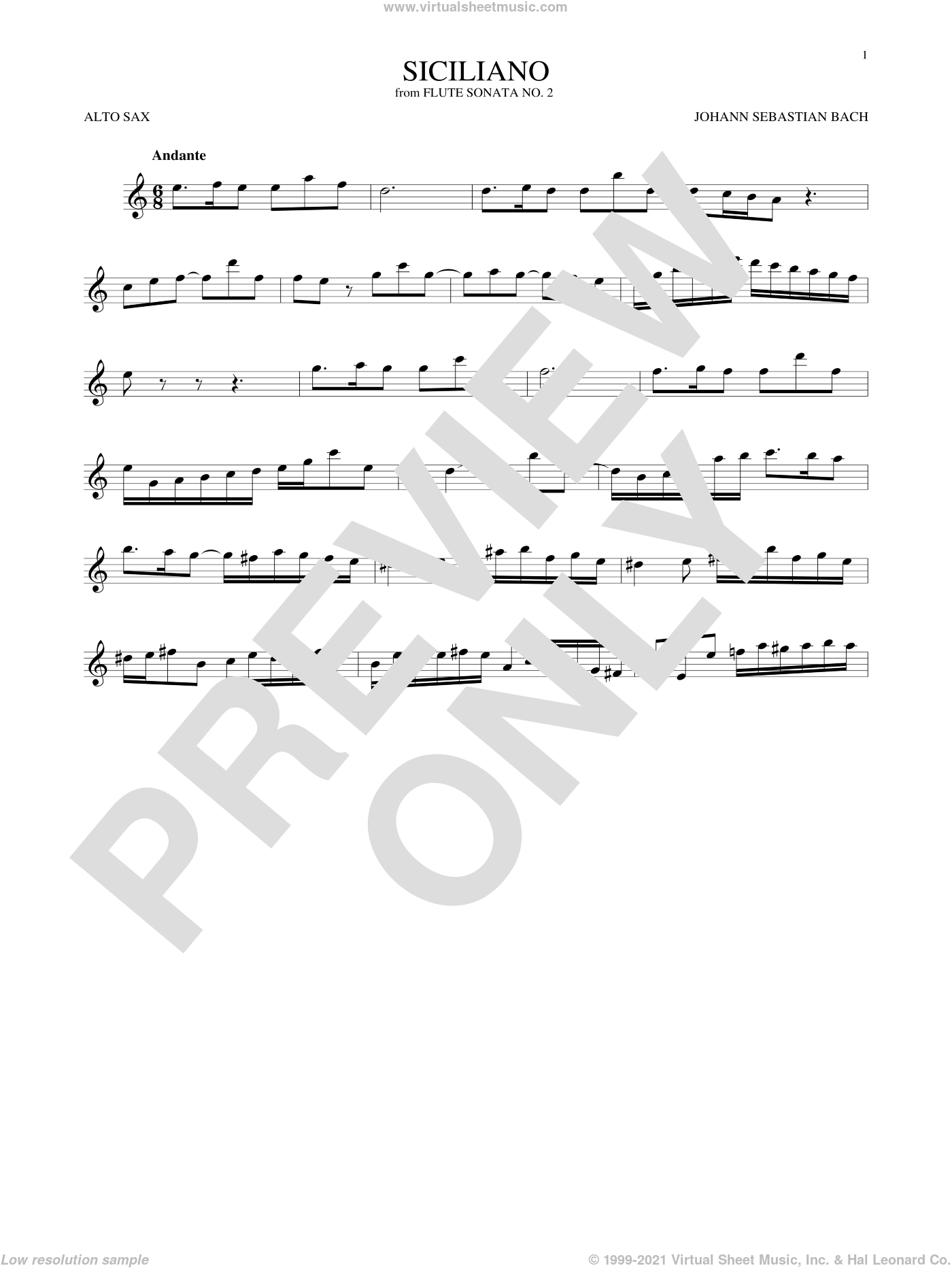Siciliano sheet music for alto saxophone solo by Johann Sebastian Bach, classical score, intermediate skill level