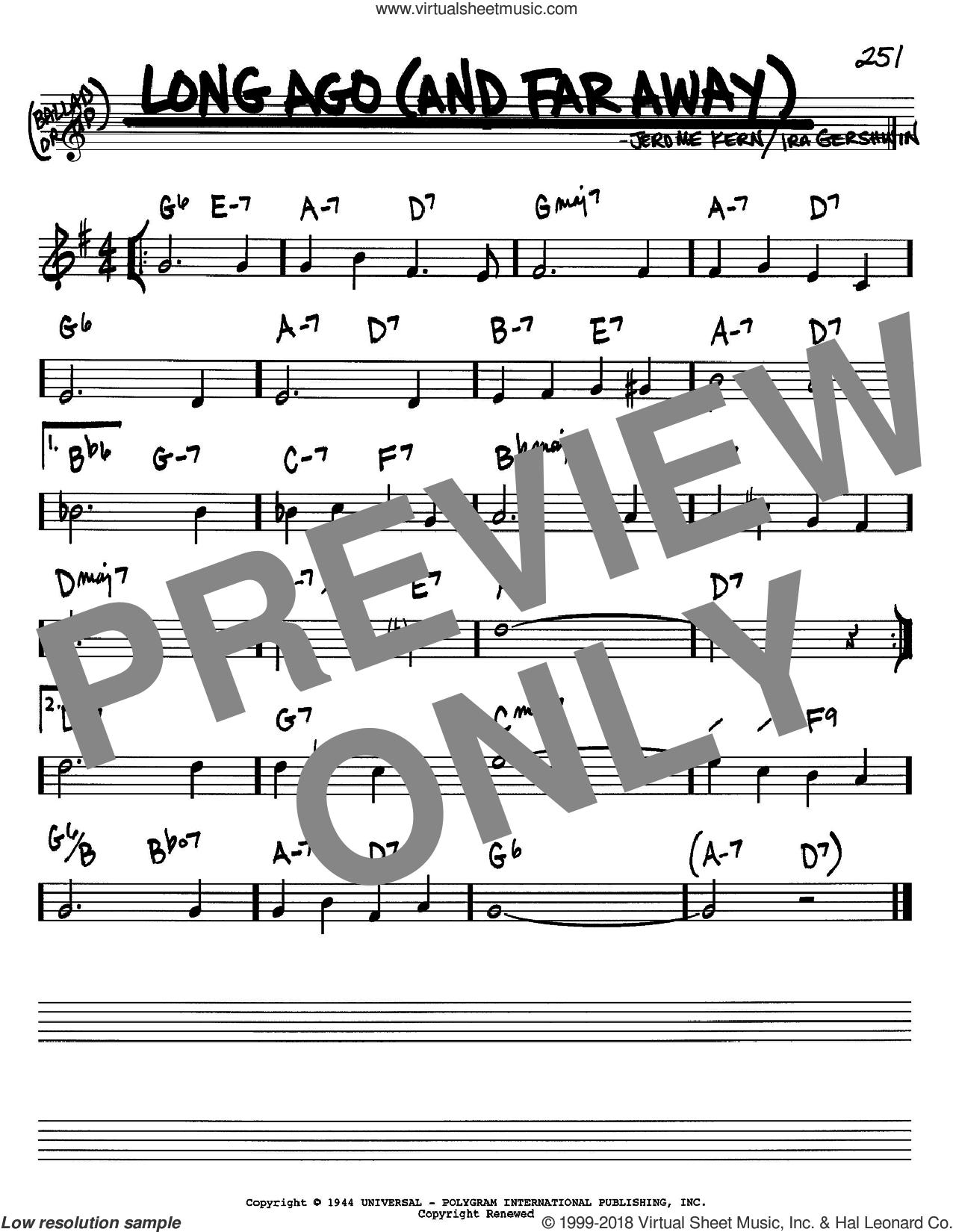 Long Ago (And Far Away) sheet music for voice and other instruments (Bb) by Jerome Kern and Ira Gershwin. Score Image Preview.