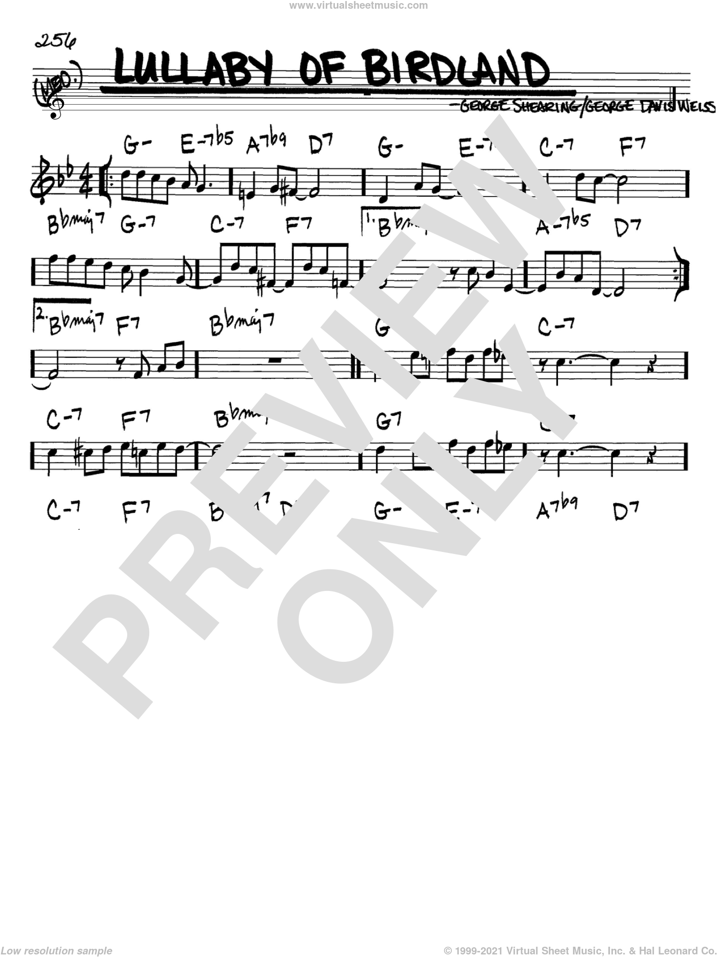 Lullaby Of Birdland sheet music for voice and other instruments (Bb) by George David Weiss and George Shearing. Score Image Preview.
