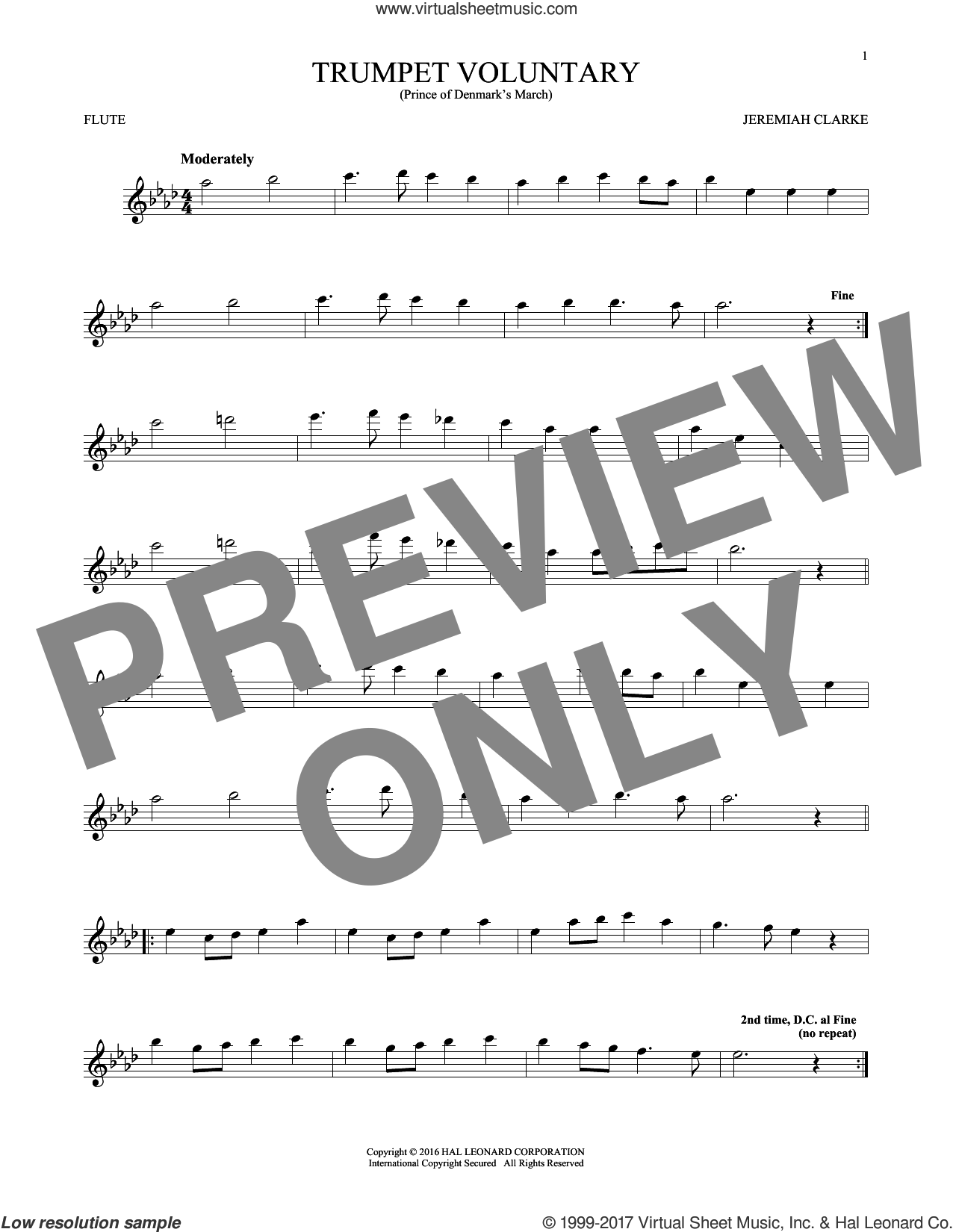 Trumpet Voluntary sheet music for flute solo by Jeremiah Clarke, classical wedding score, intermediate. Score Image Preview.