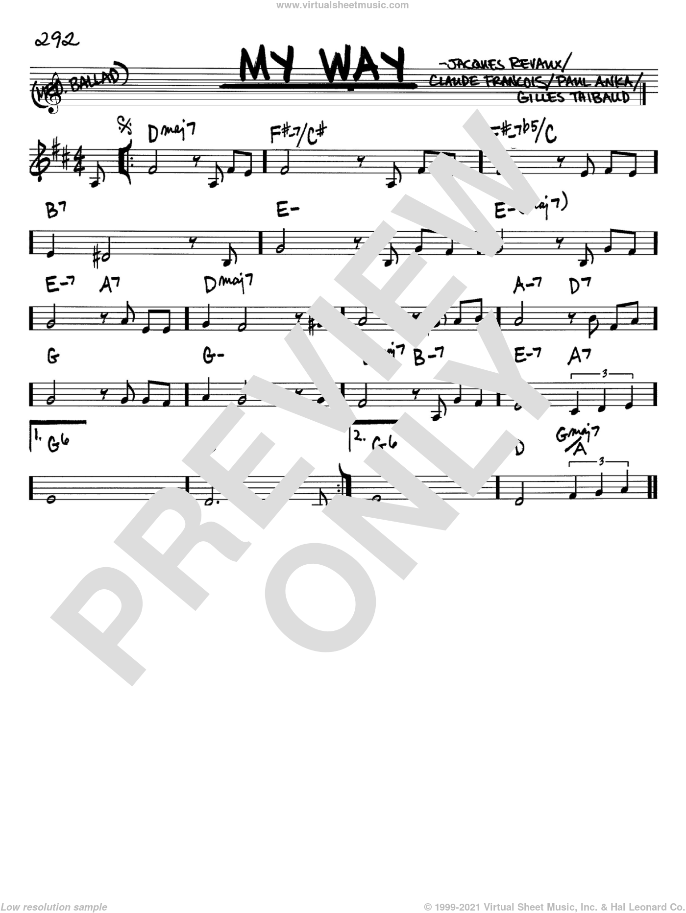 My Way sheet music for voice and other instruments (Bb) by Jacques Revaux, Elvis Presley, Frank Sinatra, Claude Francois and Paul Anka. Score Image Preview.