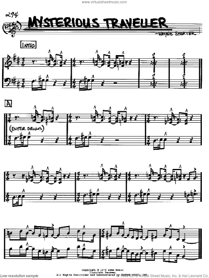 Mysterious Traveller sheet music for voice and other instruments (Bb) by Wayne Shorter. Score Image Preview.