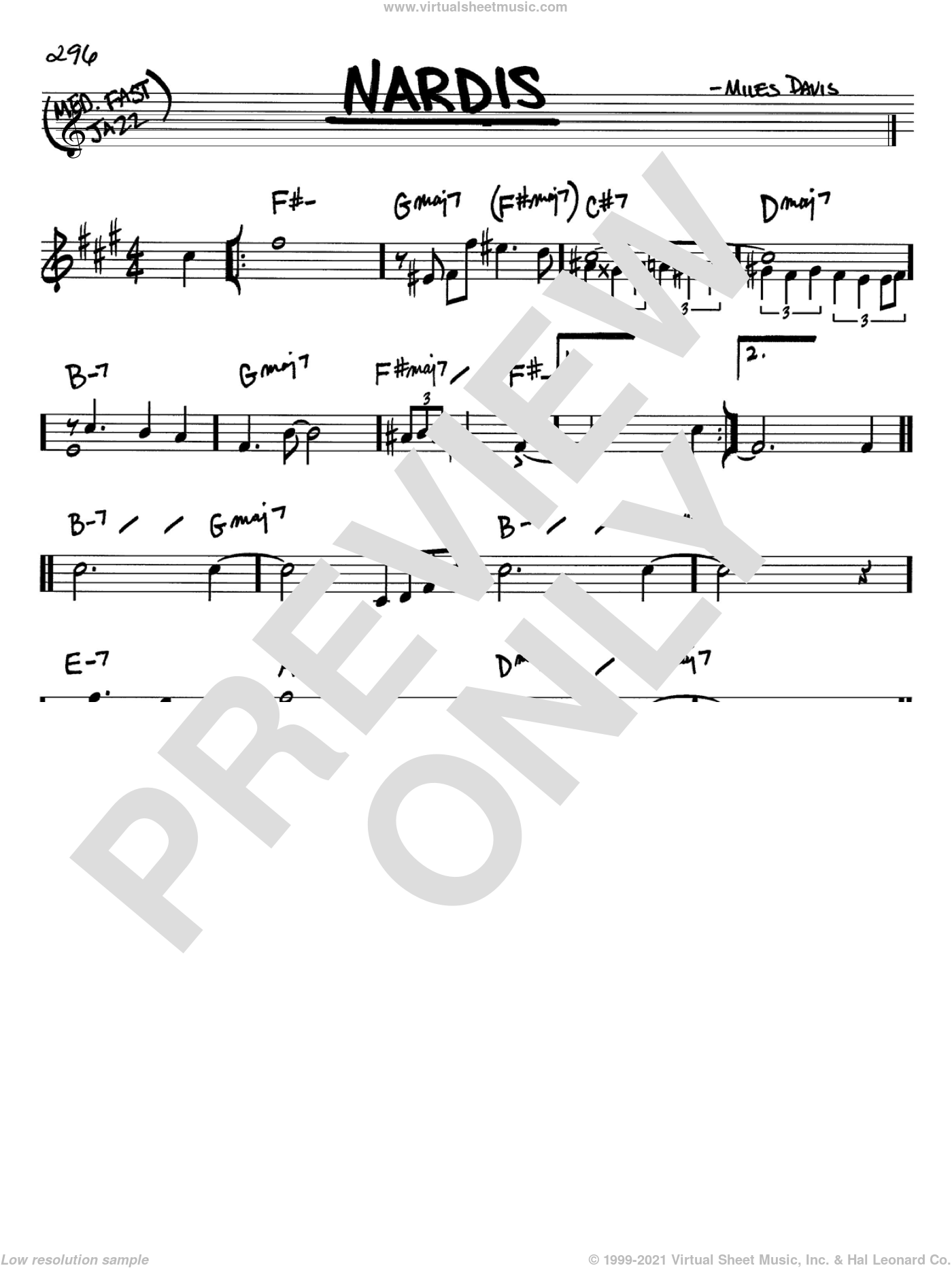 Nardis sheet music for voice and other instruments (in Bb) by Miles Davis and Bill Evans, intermediate skill level